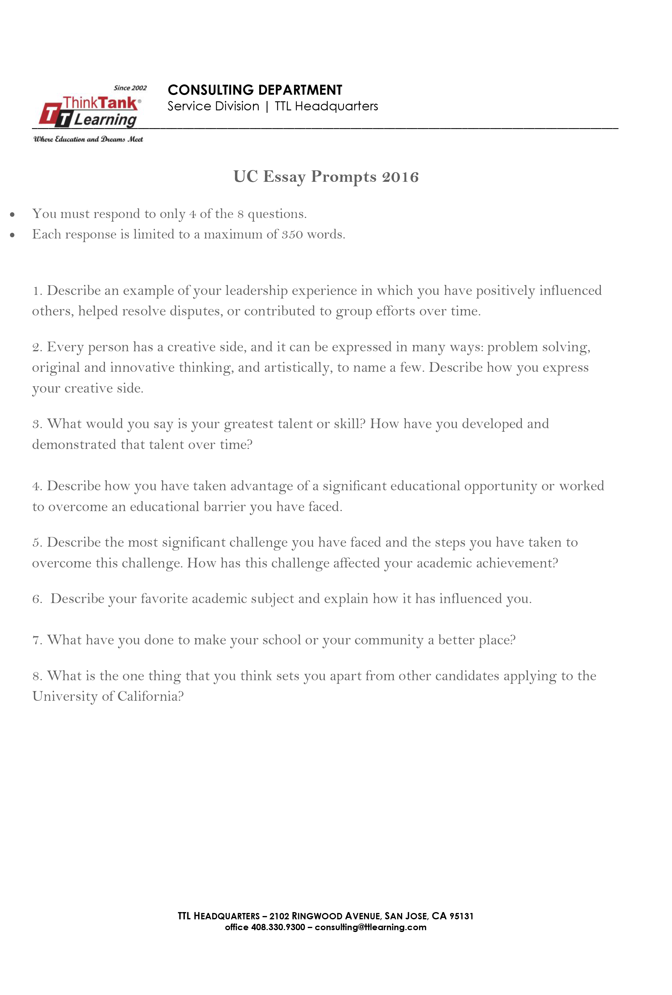 015 Essay Example Ucla Prompt Uc Prompts 2016 2 Fascinating College Application 2018-19 2017 Full