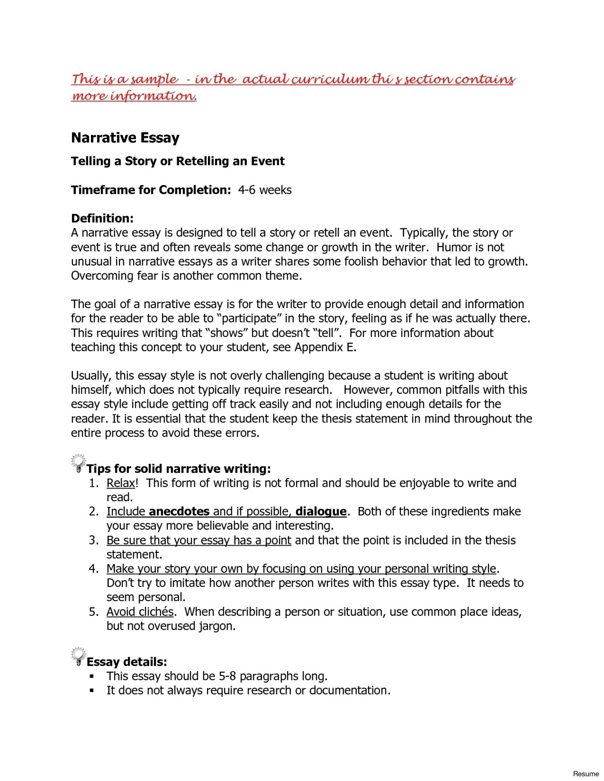 narrative essay thesis example statement examples for