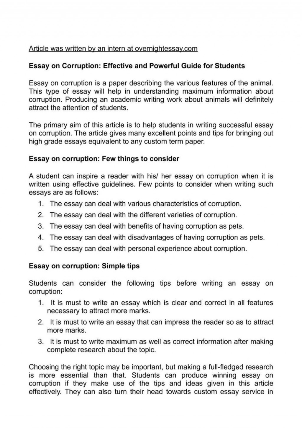 015 How To Write This I Believe Essay Easy Essays Calam Atilde Copy O On Corruption Effective Samples Good Topics Template 1048x1483 Fantastic A What Things Large