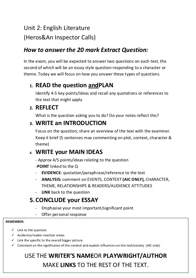015 Howtoanswerthe20markquestion Phpapp02 Thumbnail Essay Example Impressive Response Format Definition Conclusion Full