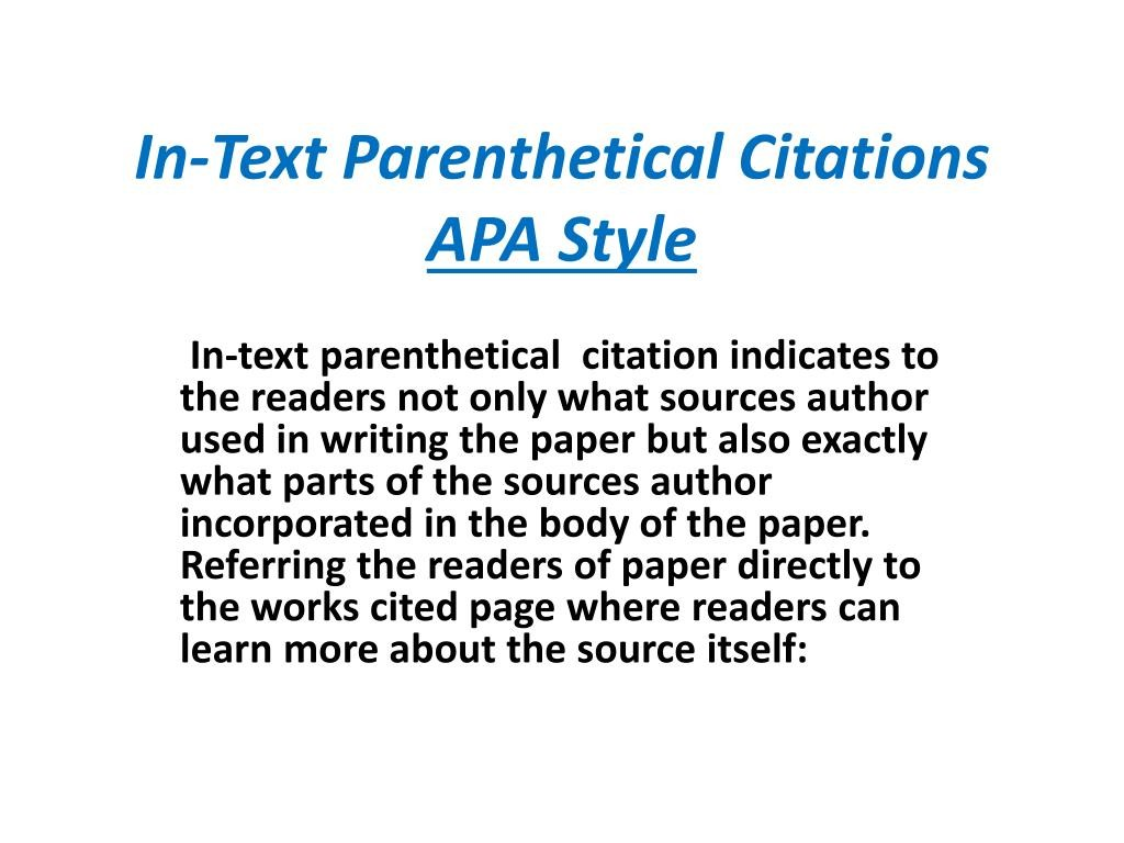 015 In Text Parenthetical Citations Apa Style L How To Cite An Essay Stunning A Book Article Quote Sources Format Large
