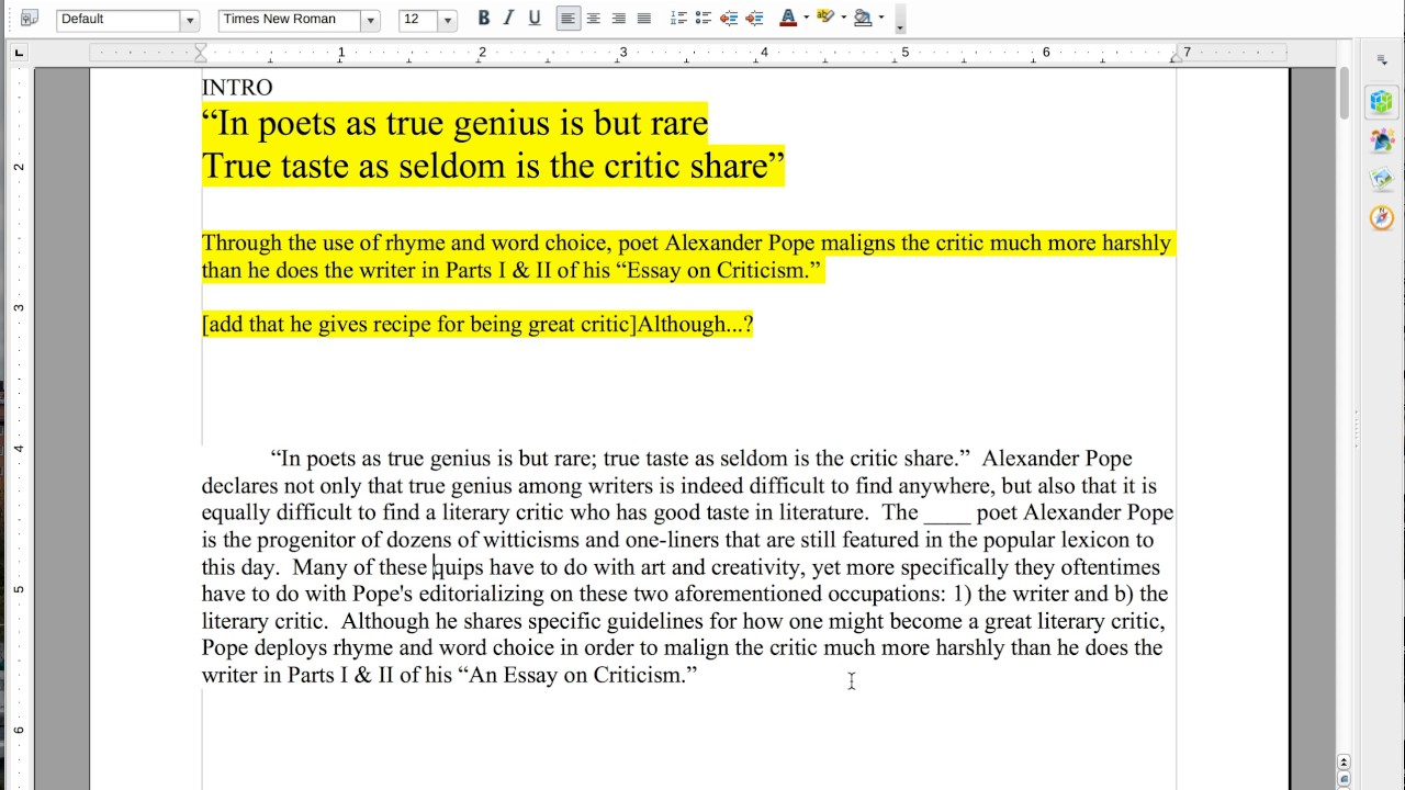015 Maxresdefault Pope Essay On Criticism With Line Numbers Outstanding Full