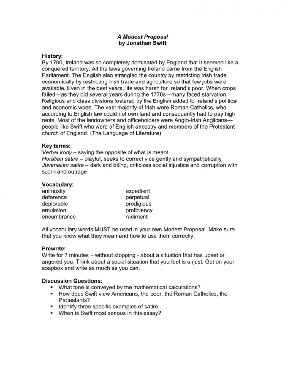modest proposal essay  thatsnotus   modest proposal essay example   astounding a questions  writing prompt structure