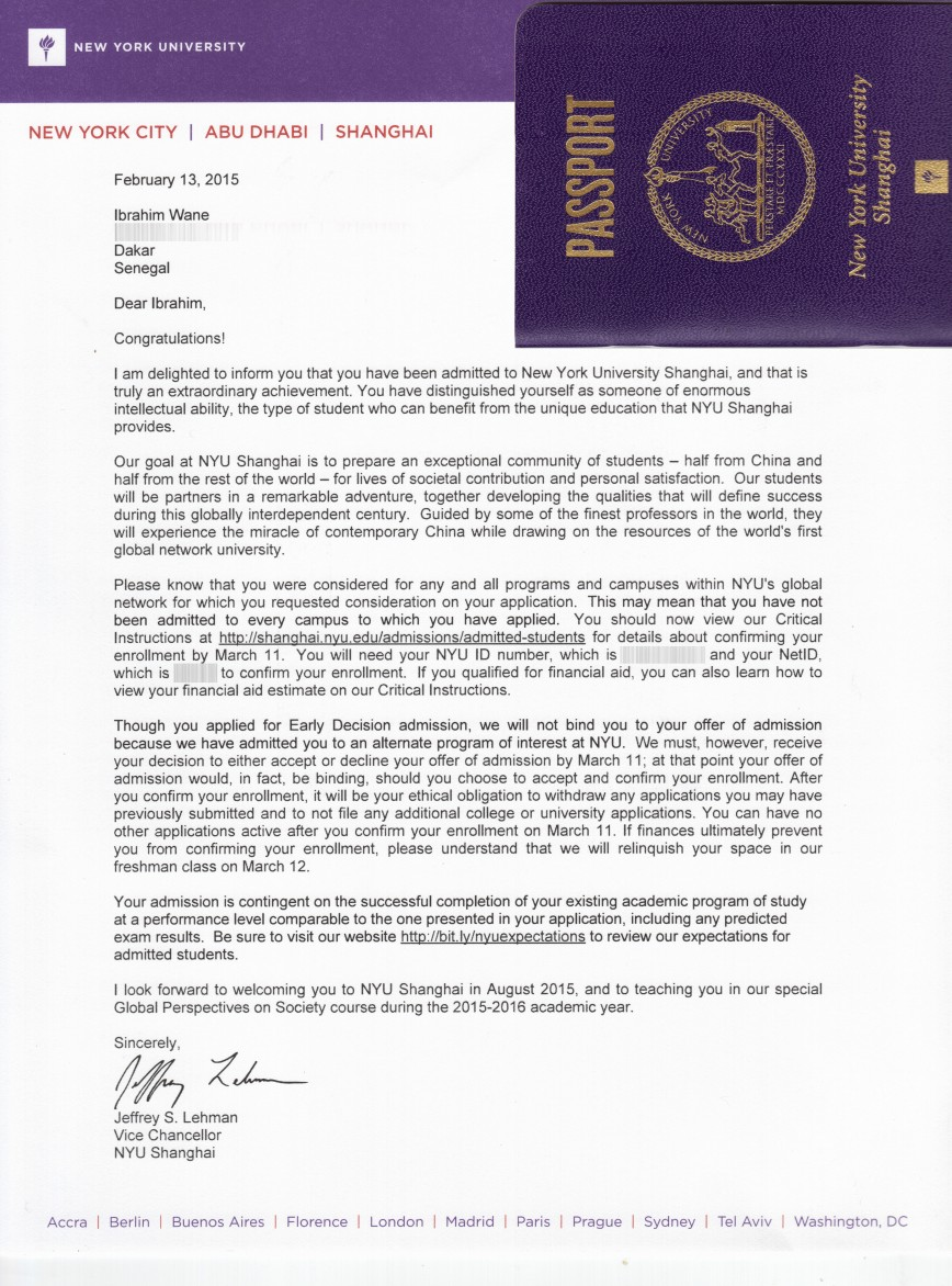 015 Nyush Acceptance Letter With Passport Blurred Why Nyu Essay Unforgettable Forum Stern Sample Prompt