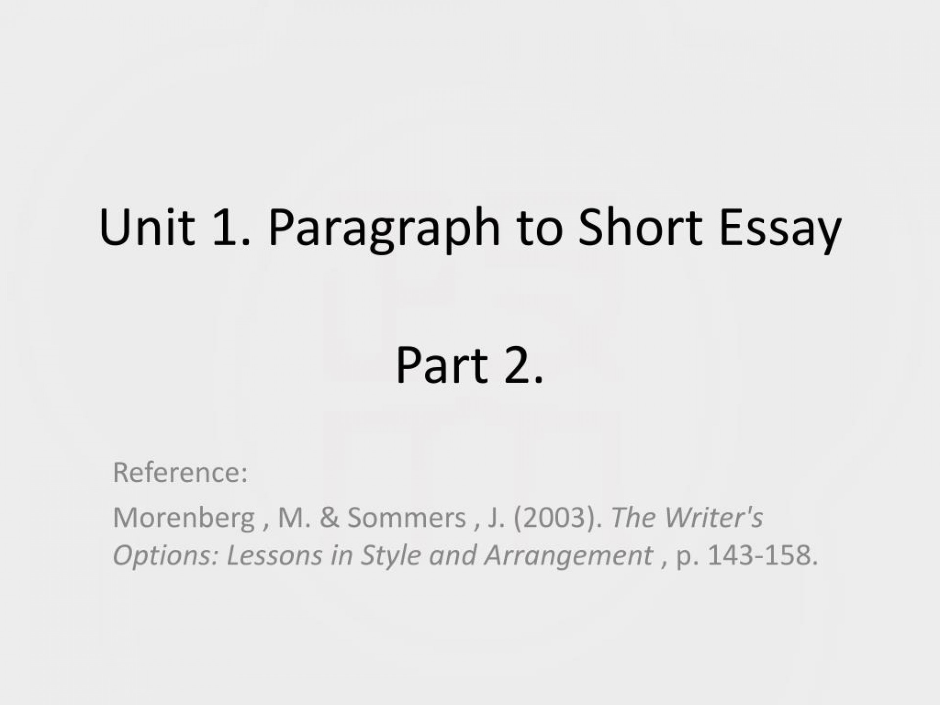 015 Paragraph Essay Unit To Short Part L Magnificent 2 Topics About Friendship Graphic Organizer 1920