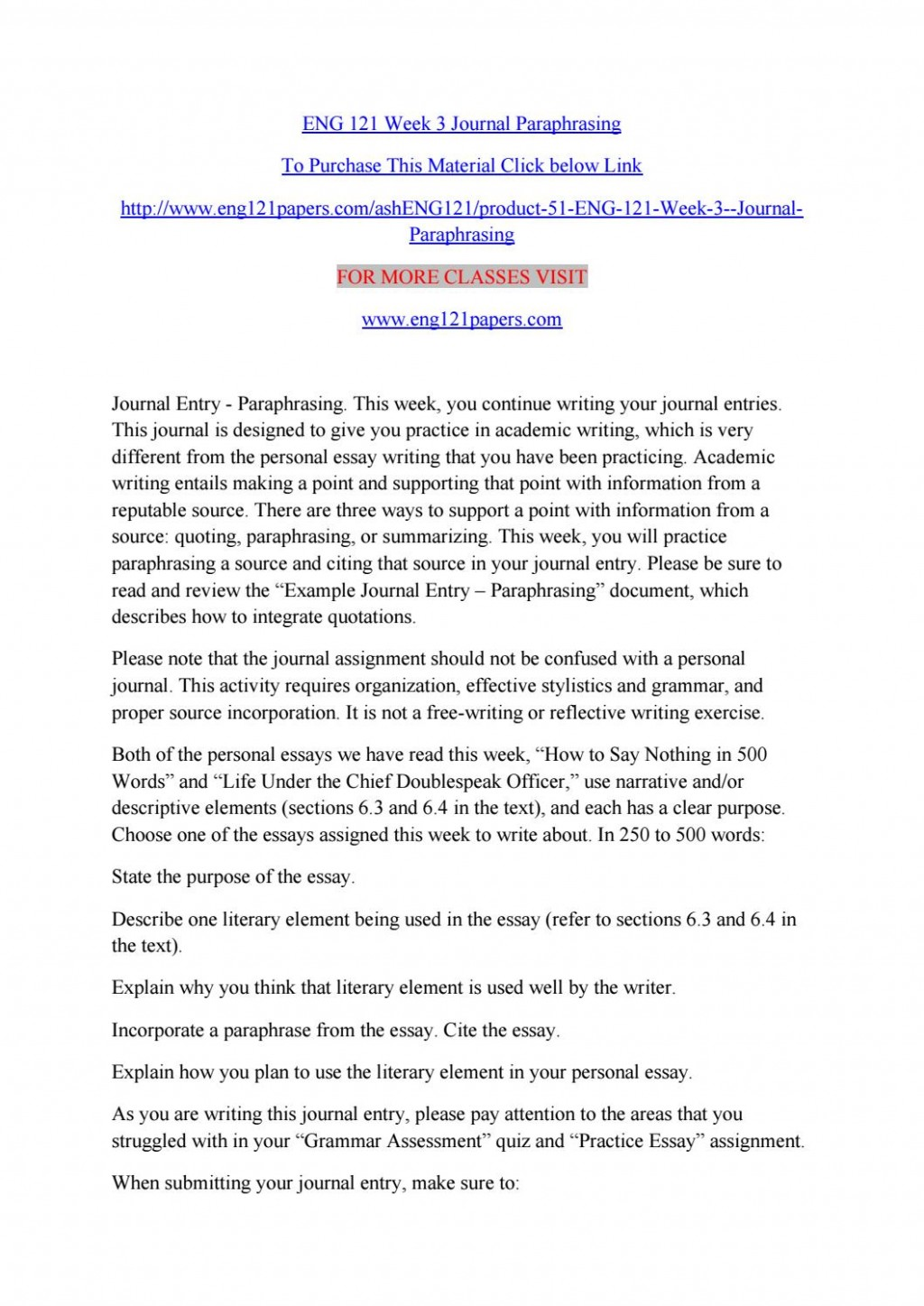 015 Paraphrase Essay Page 1 Stirring Means On Criticism Paraphrasing Topics Large