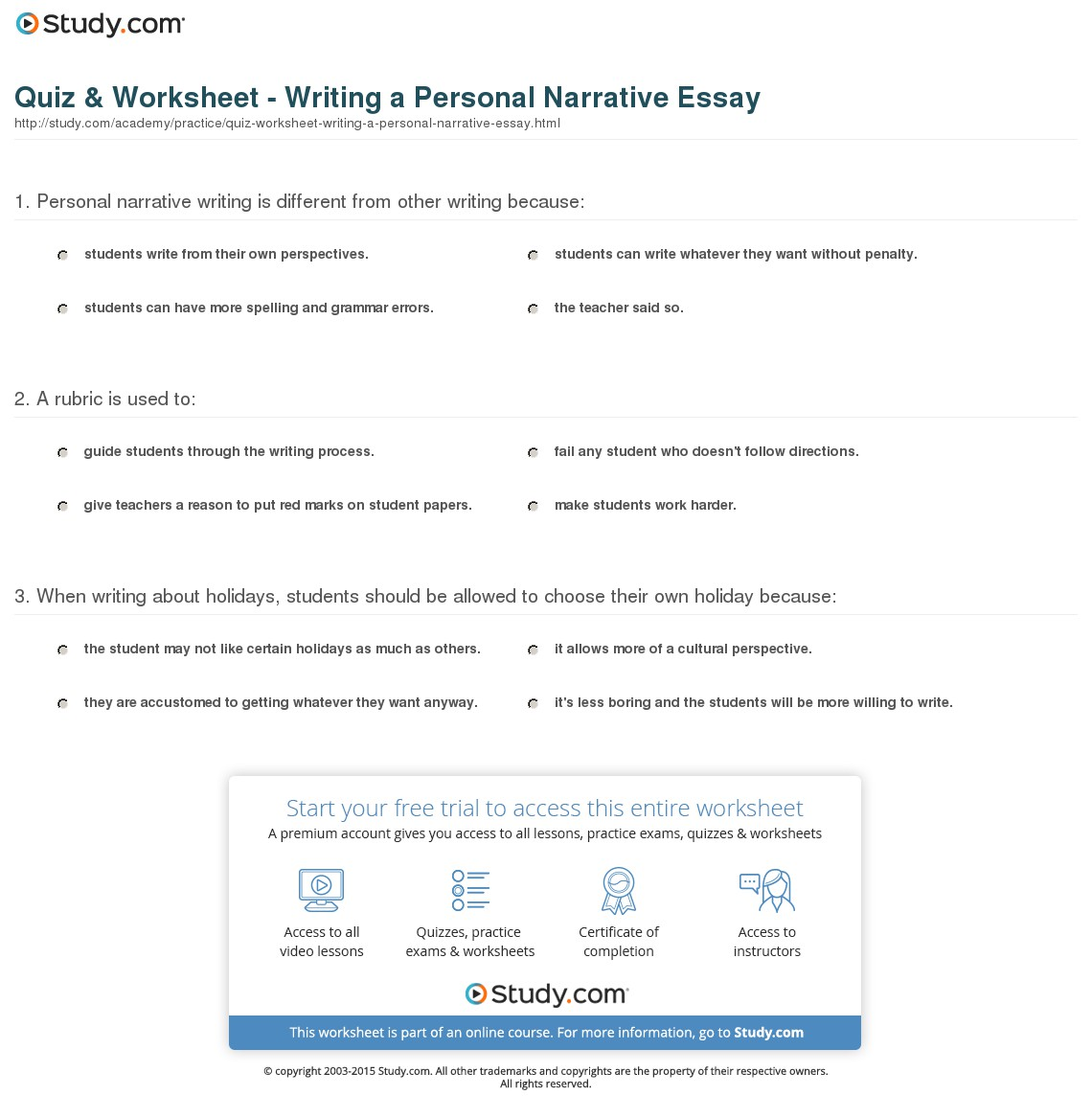 015 Personal Narrative Essay Example Quiz Worksheet Writing Stirring Topics For Grade 7 Examples College 6th Full