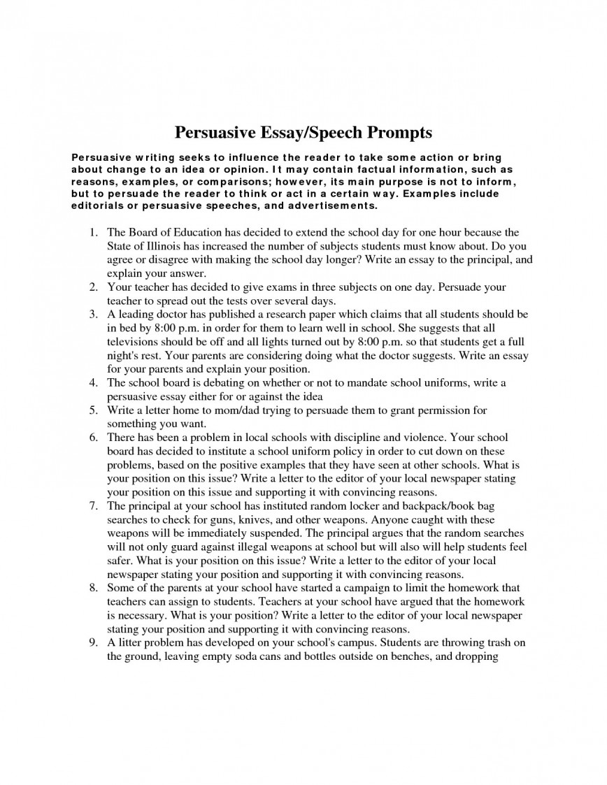015 Persuasive Essay Prompts Essays For Middle School Shocking Informative Writing Leadership High Students 868