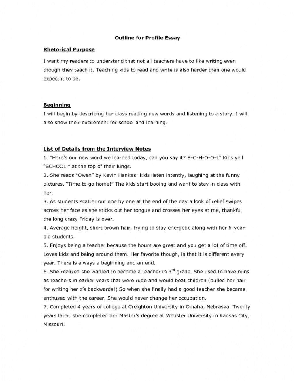 015 Profile Essay Outline Example Personality Topics Examples Of Big Five Samples My Write Wonderful Large