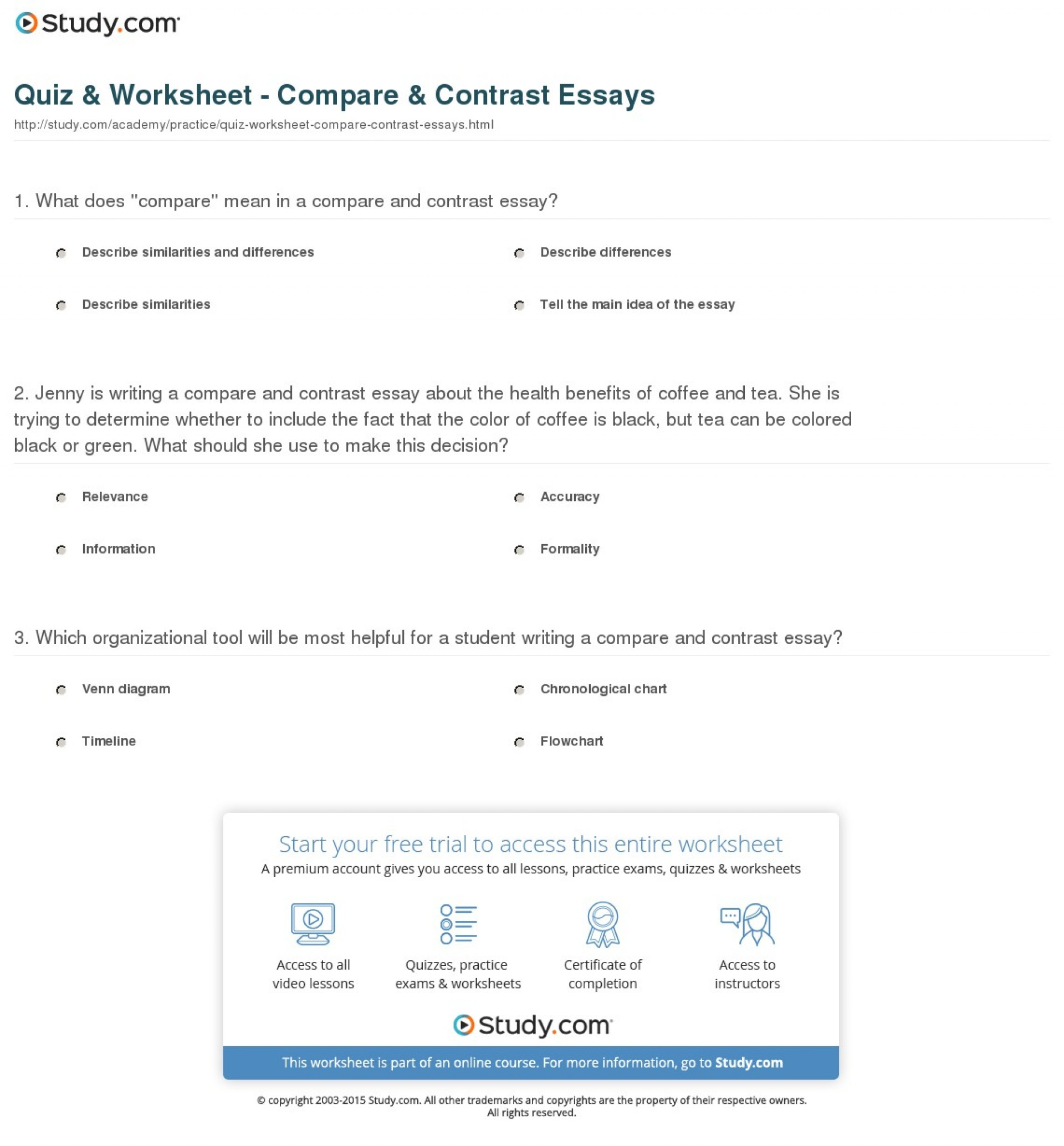 015 Quiz Worksheet Compare Contrast Essays Essay Example Beautiful Comparison Format College Graphic Organizer Pdf Examples 1920