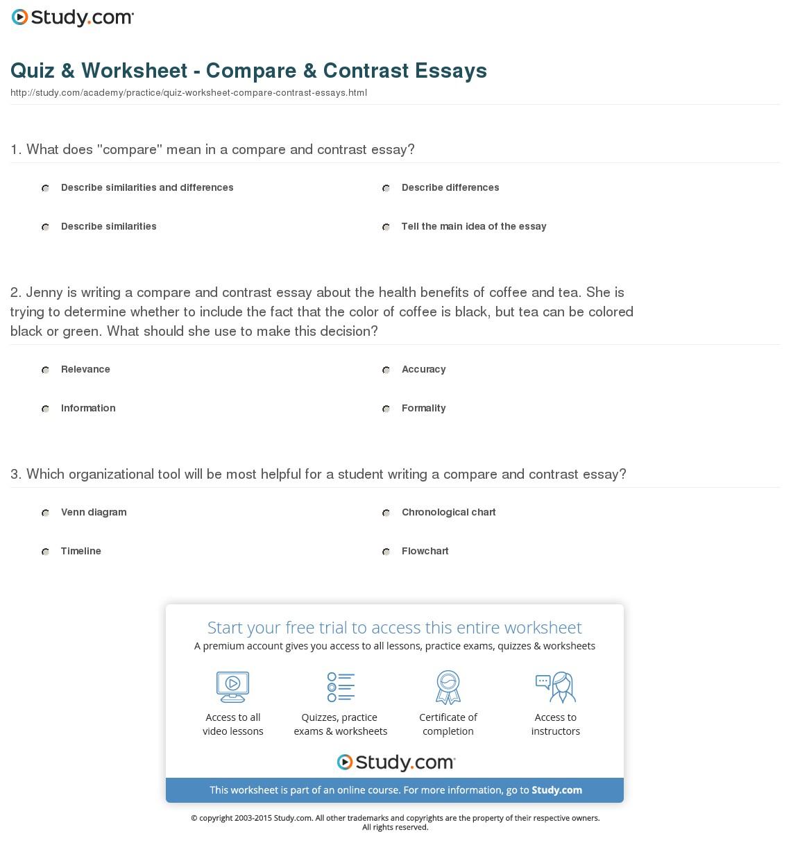 015 Quiz Worksheet Compare Contrast Essays Essay Example Beautiful Comparison Format College Graphic Organizer Pdf Examples Full