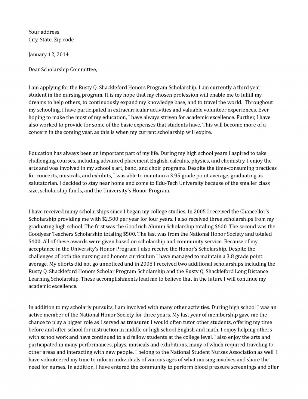 015 Scholarship Application Essay Example Sample Honors Program Staggering Mba Tips College Ideas Large