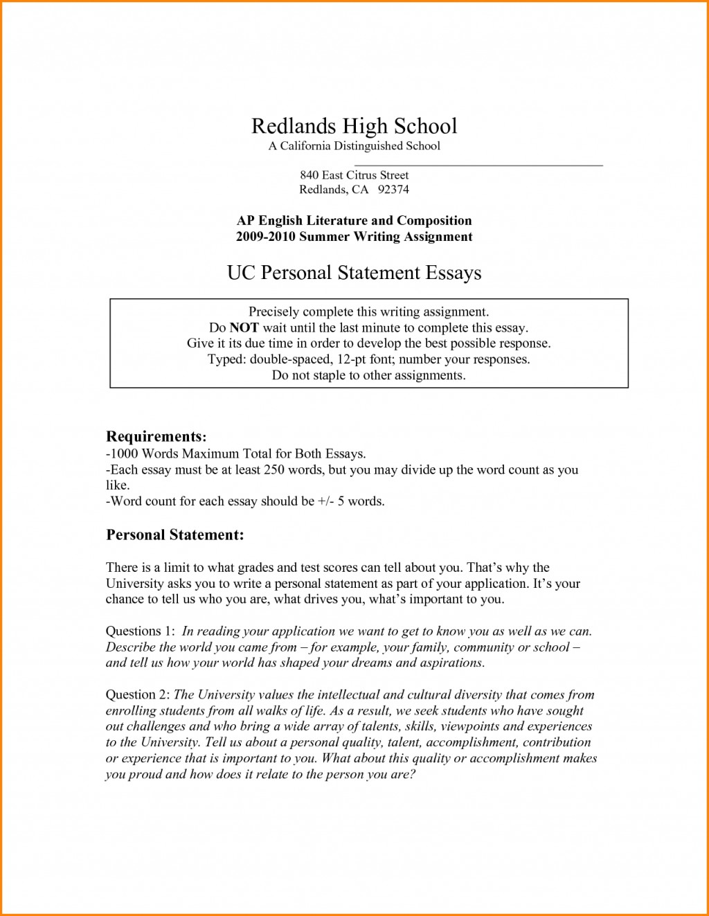 015 Uc Personal Statement Examples Essay Example Sample Imposing Essays Prompt 1 6 3 Large