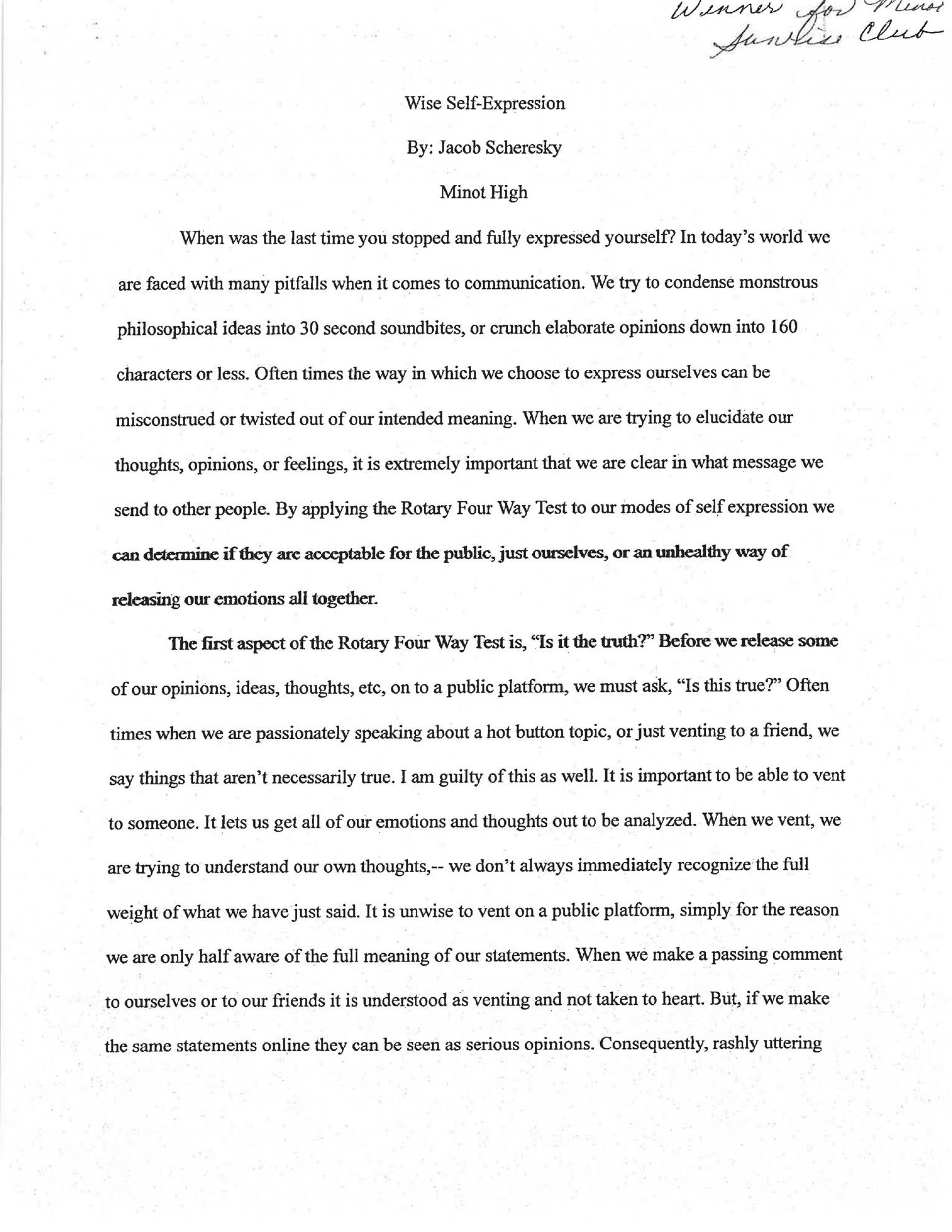 015 Winning Essay Expression For Stupendous Of Interest Example Argumentative Descriptive 1920