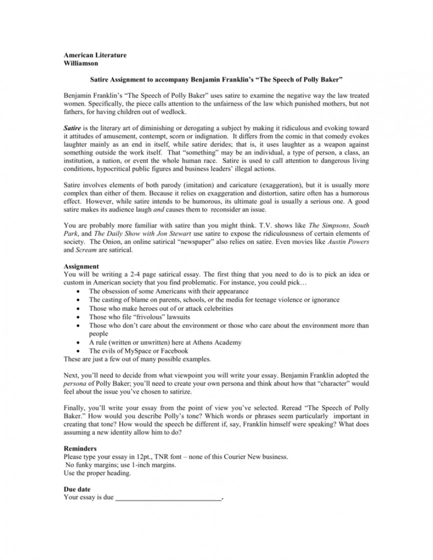 016 008005442 1 Essay Example How To Write Fascinating A Satire Social Essay-example Outline