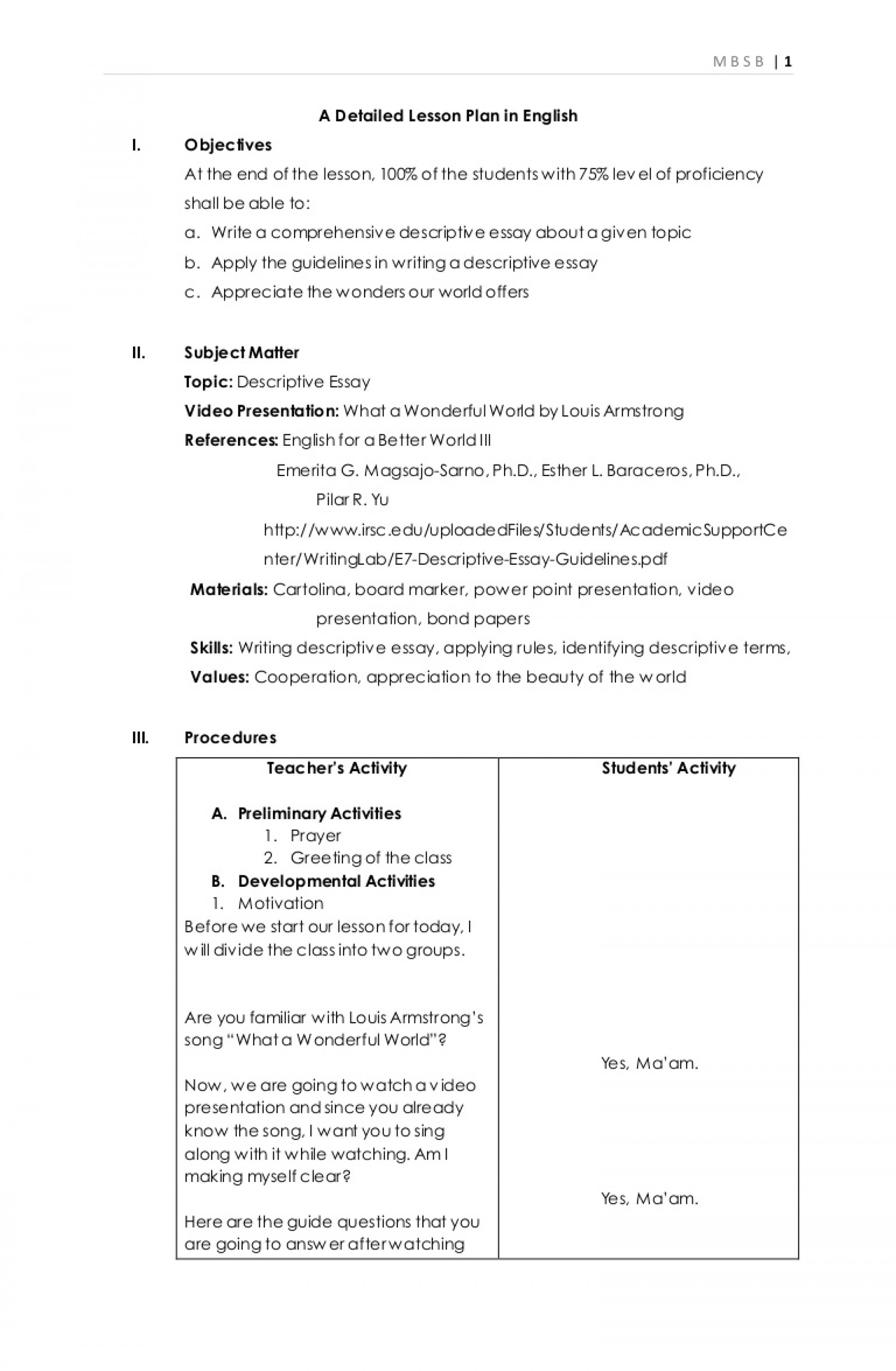 016 Adetailedlessonplaninenglish Phpapp02 Thumbnail Essay Example Writing Awesome A Descriptive About Place How To Write Person Pdf 1920