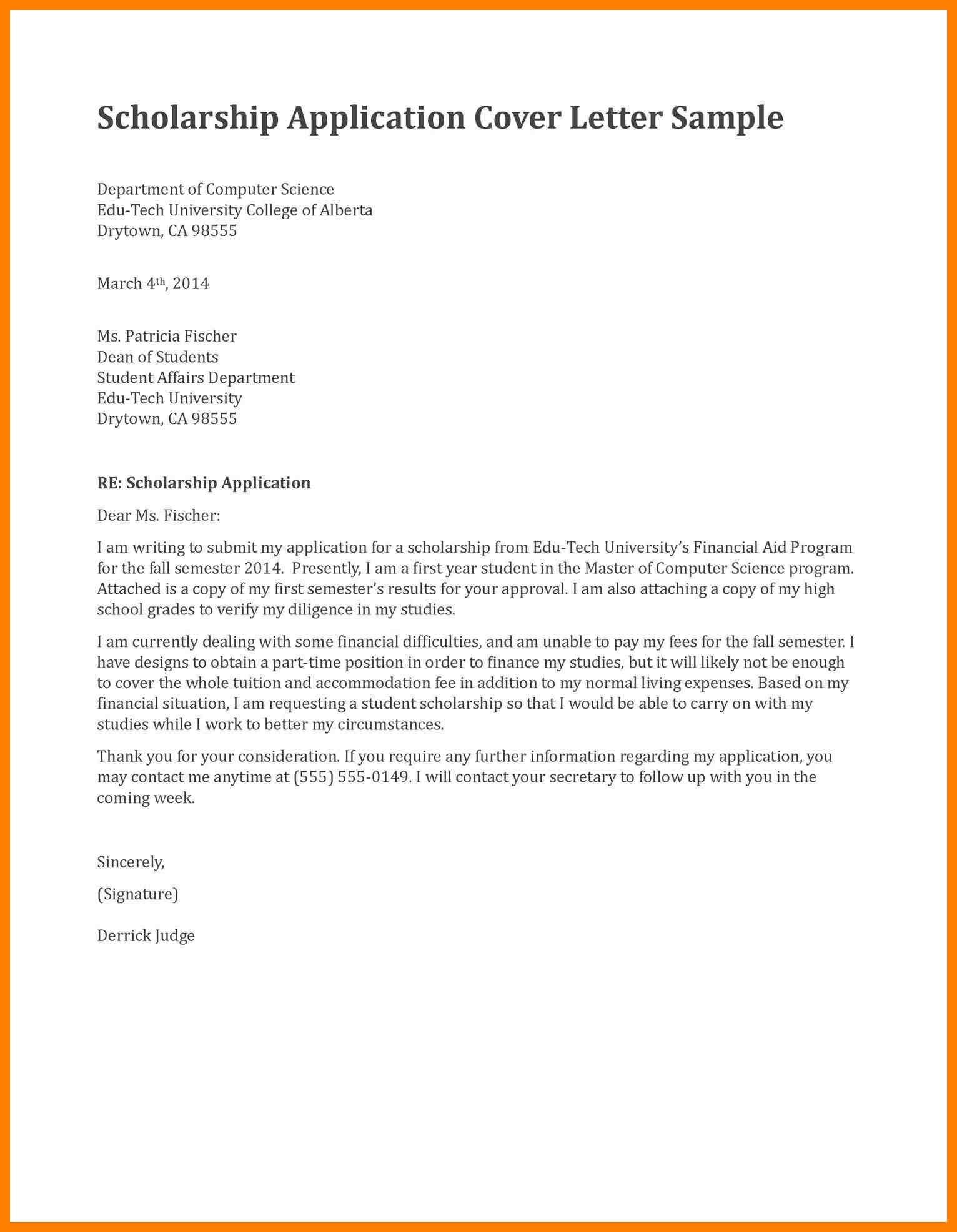 016 Application Letter For Scholarship In College Cover Examples ...
