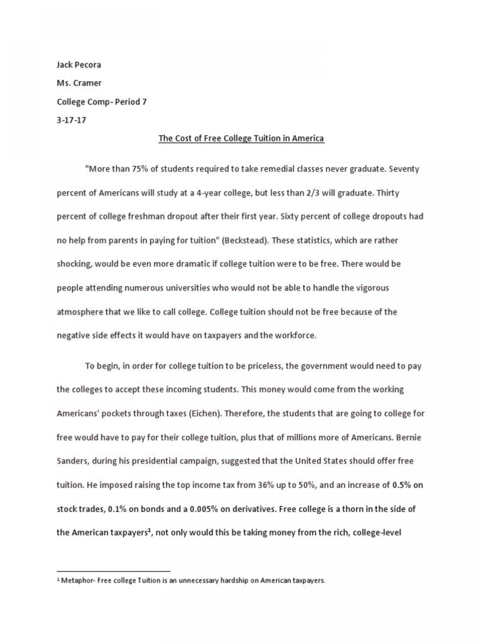 016 Argument Essay Free College Tuition Payments Should Pdf For Everyone To Attend Education Argumentative Persuasive Community Not Awesome Outline Template On Texting While Driving Examples 1920