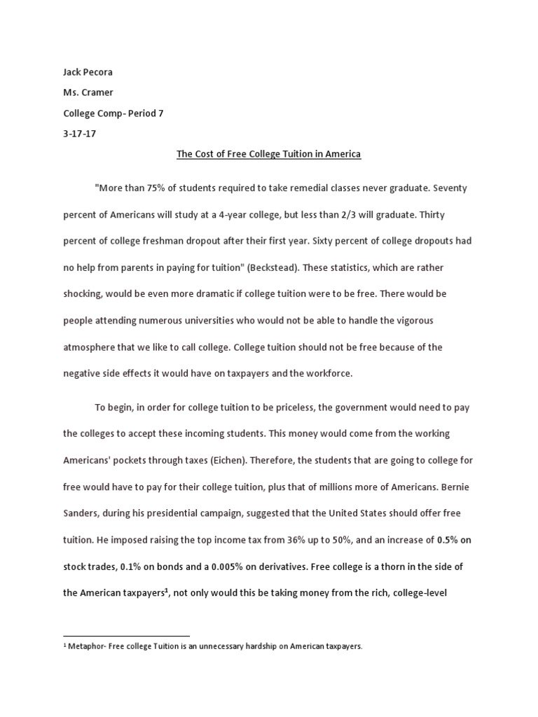 016 Argument Essay Free College Tuition Payments Should Pdf For Everyone To Attend Education Argumentative Persuasive Community Not Awesome Outline Template On Texting While Driving Examples Full