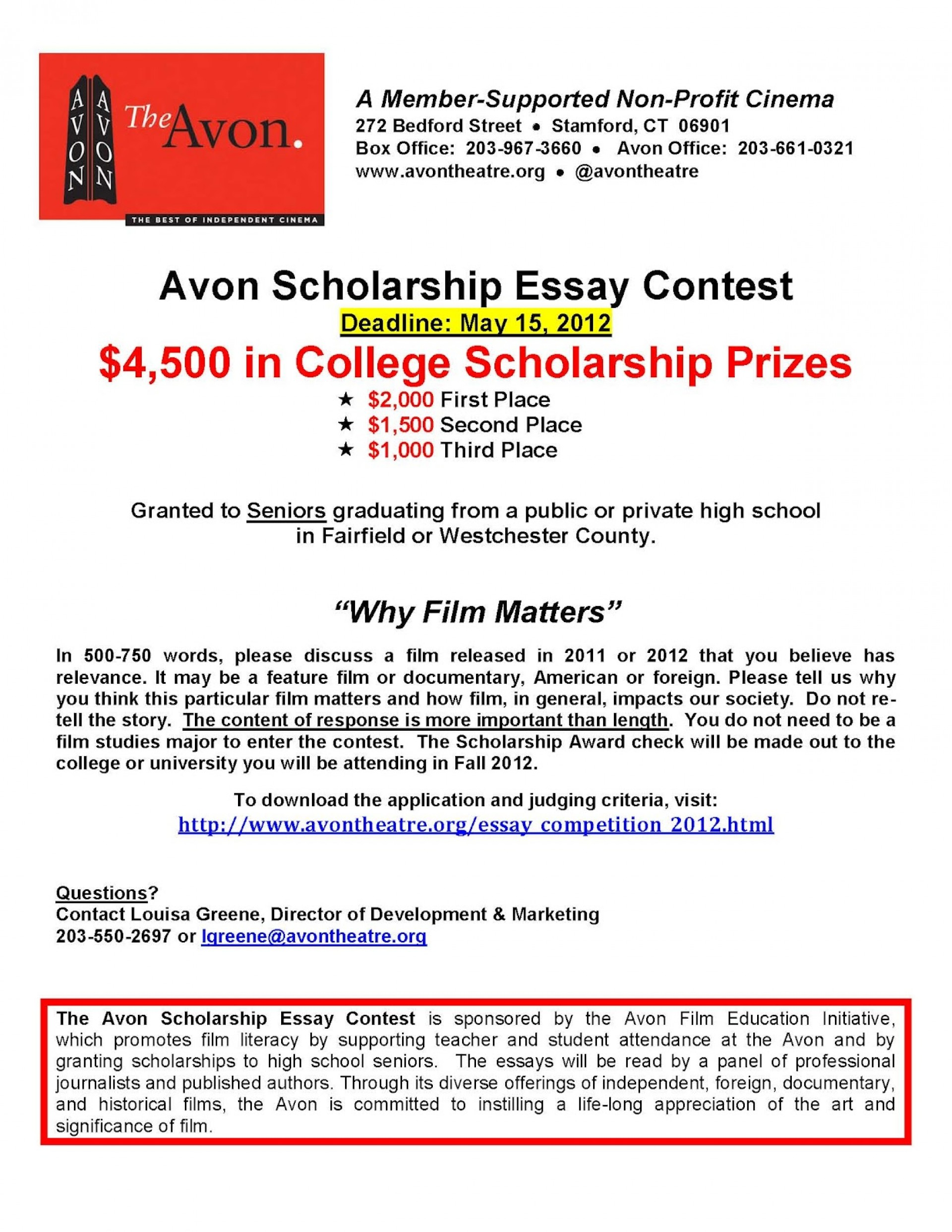 016 Avonscholarshipessaycontest2012flyer Essay Example Shocking Scholarships 2018 Canada 2019 No For High School Juniors 1920