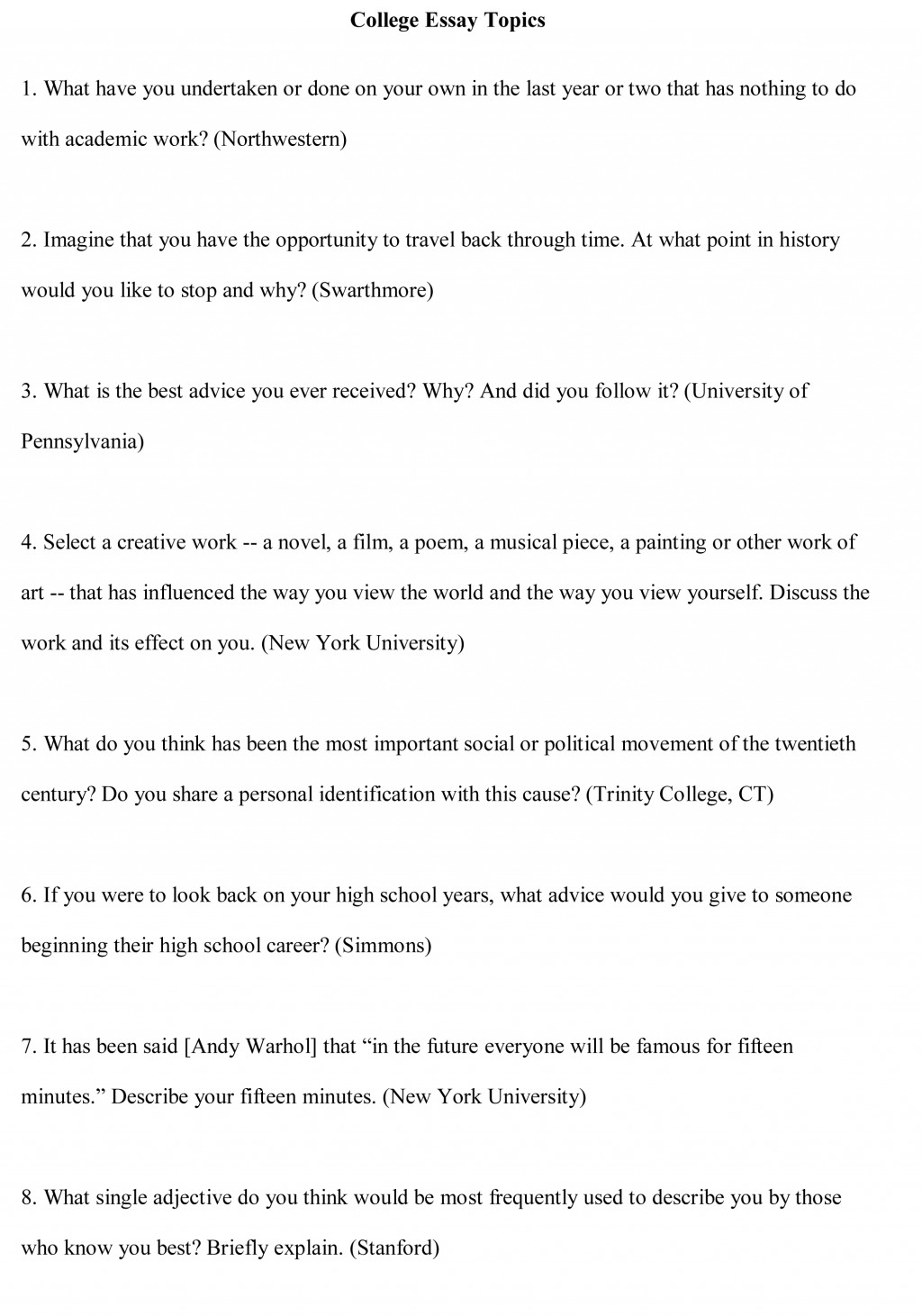 016 College Essay Topics Free Sample Example Argumentative Rare Prompts Persuasive For Students Unique Writing 6th Grade Large
