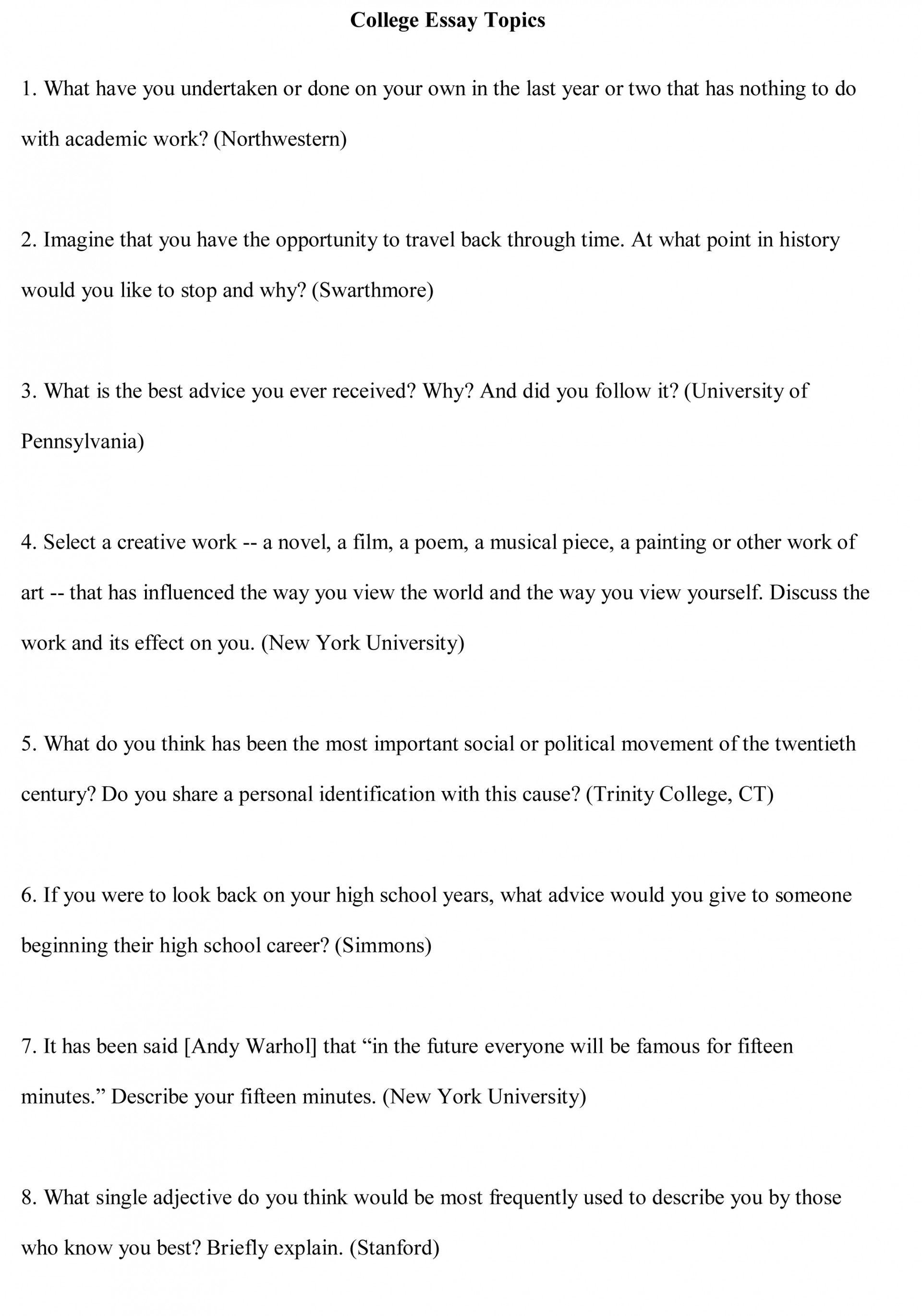 016 College Essay Topics Free Sample Example Argumentative Rare Prompts Persuasive For Students Unique Writing 6th Grade 1920