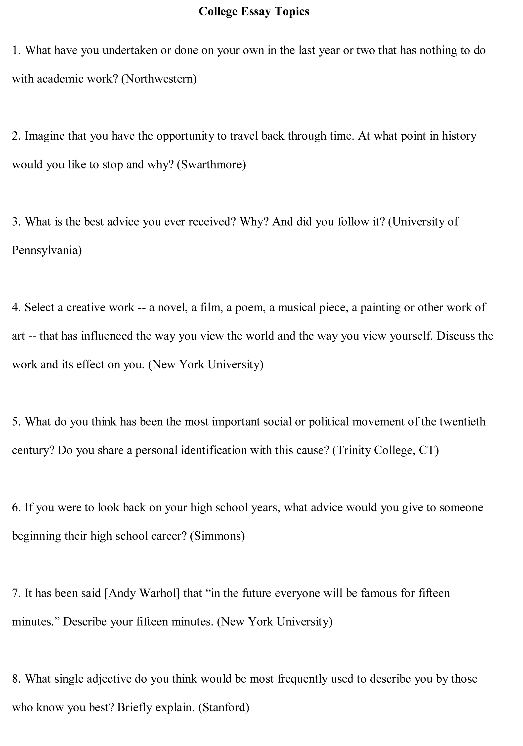 016 College Essay Topics Free Sample Example Argumentative Rare Prompts Persuasive For Students Unique Writing 6th Grade Full