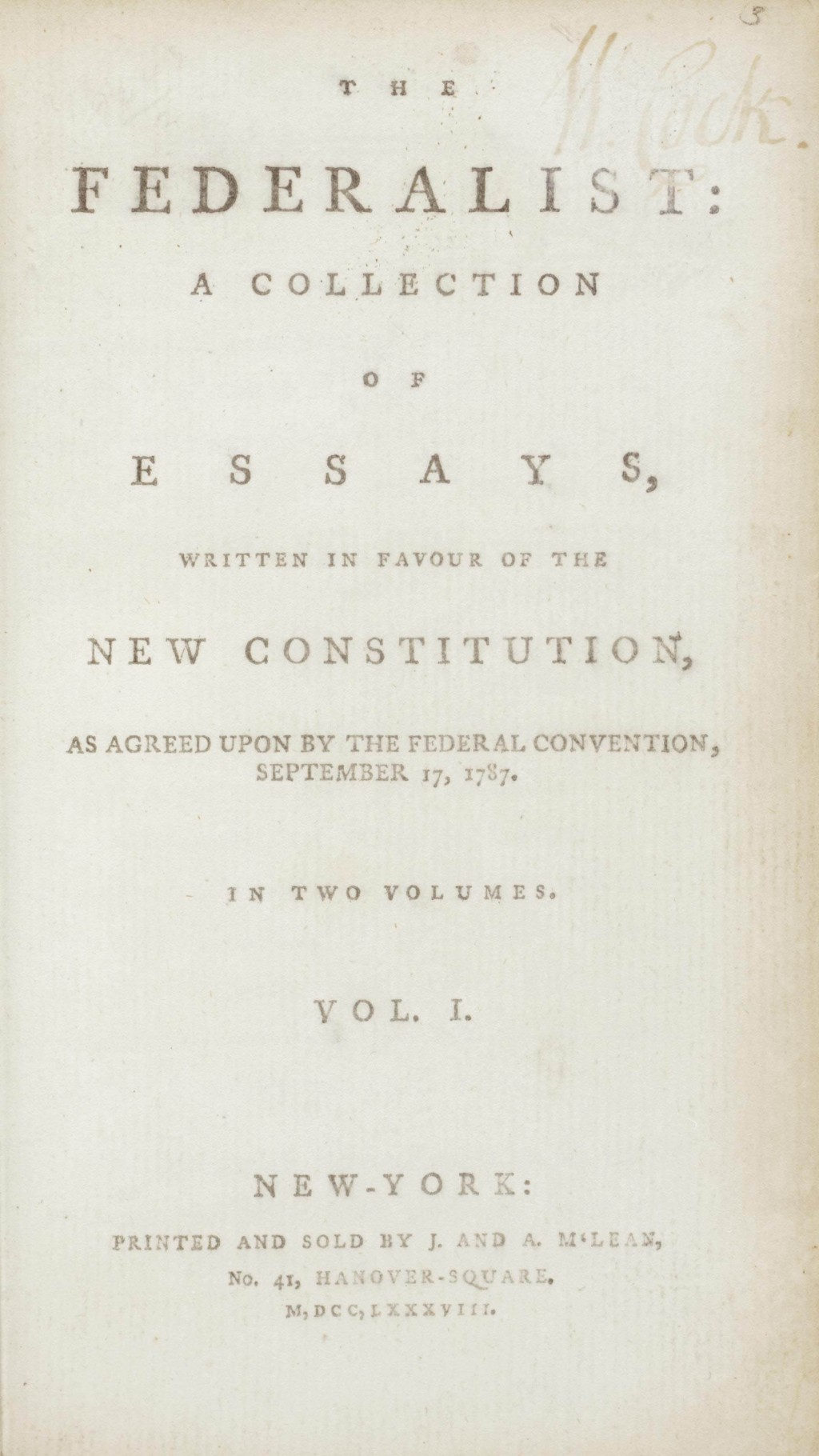016 Essay Example Alexander Hamilton Essays 2012 Nyr 02622 0043 000the Federalist Papers  James Madison And John Jay Frightening 51 78 Did WroteLarge