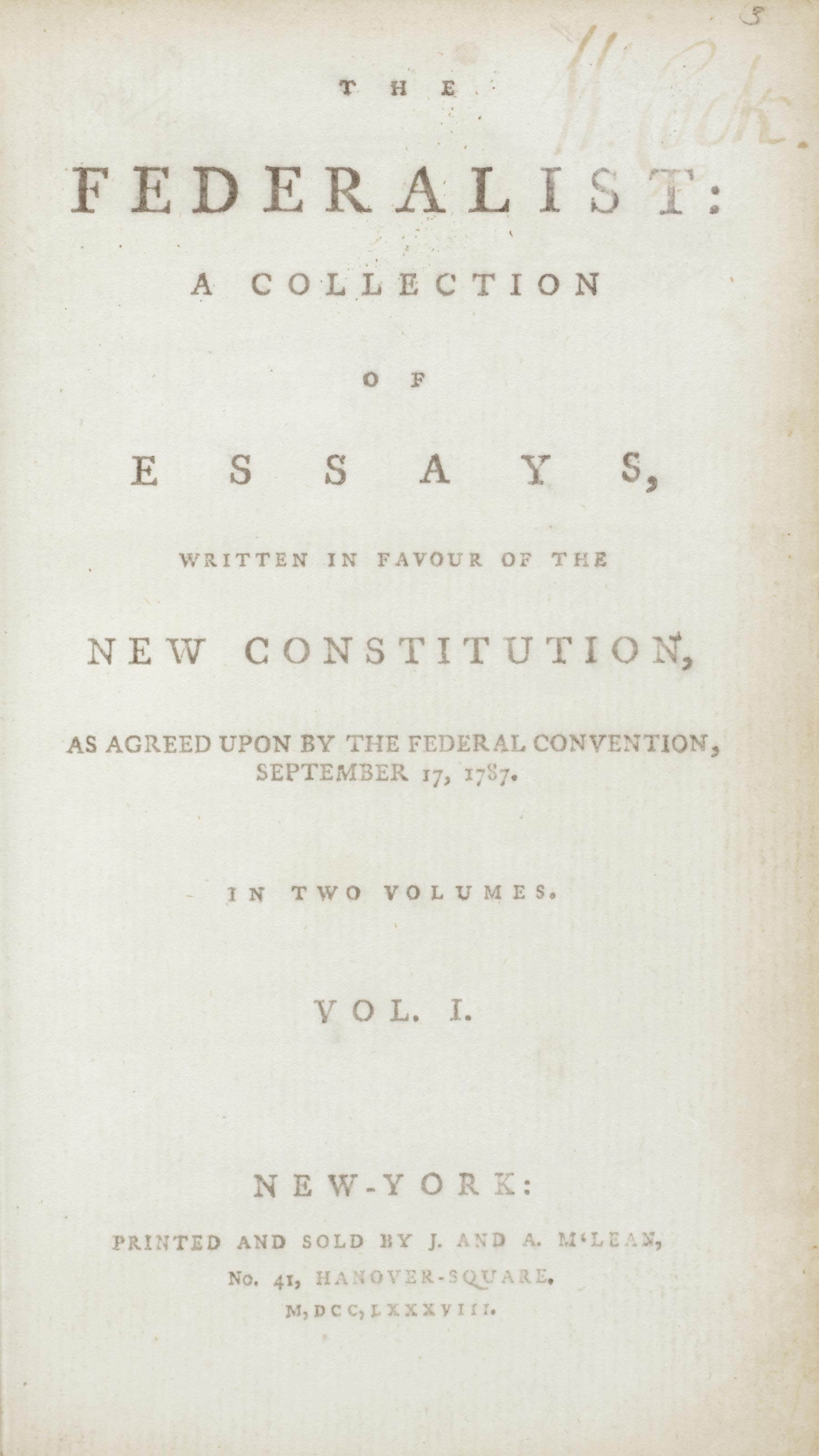 016 Essay Example Alexander Hamilton Essays 2012 Nyr 02622 0043 000the Federalist Papers  James Madison And John Jay Frightening 51 78 Did Wrote1920