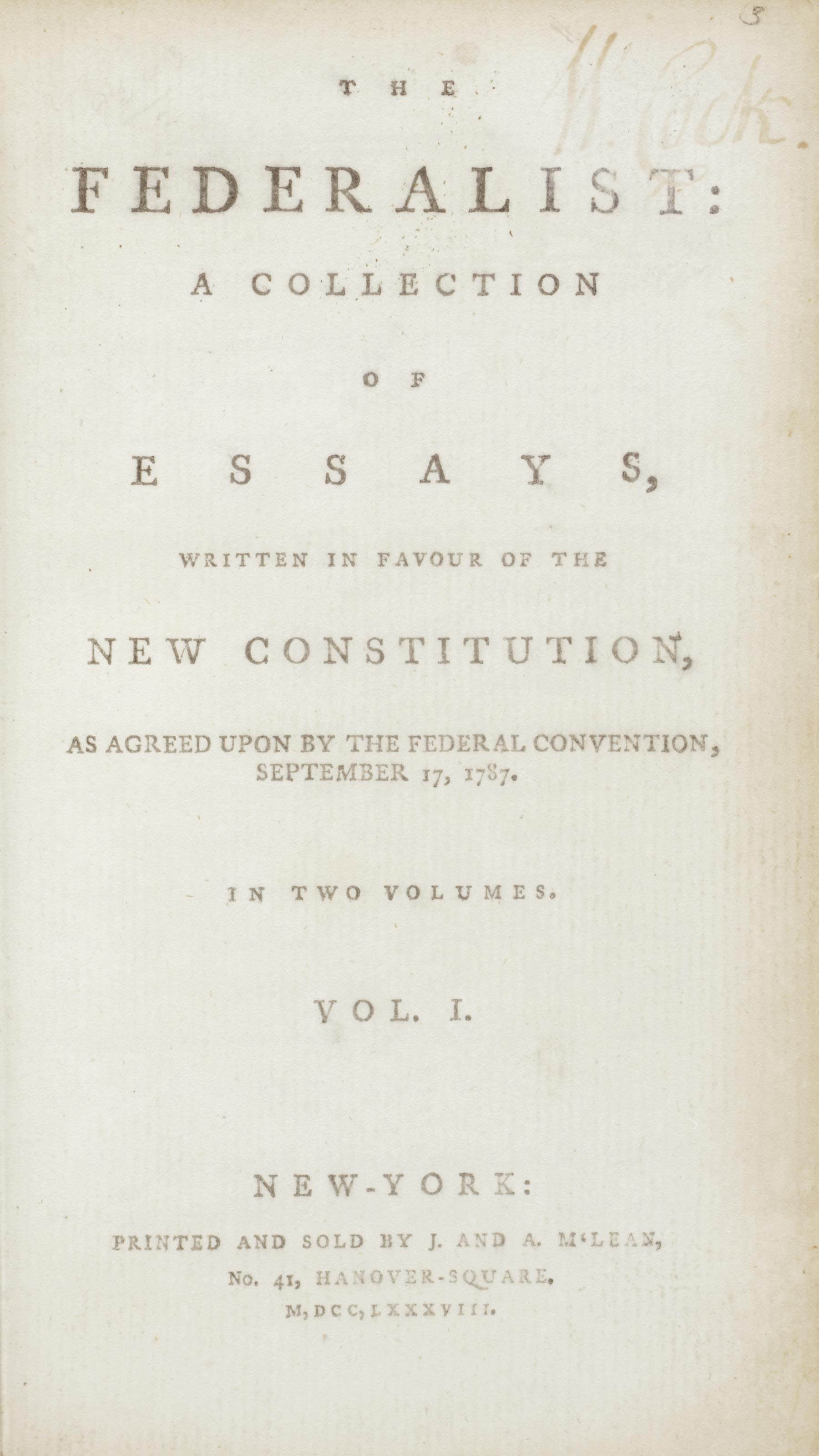 016 Essay Example Alexander Hamilton Essays 2012 Nyr 02622 0043 000the Federalist Papers  James Madison And John Jay Frightening 51 78 Did WroteFull