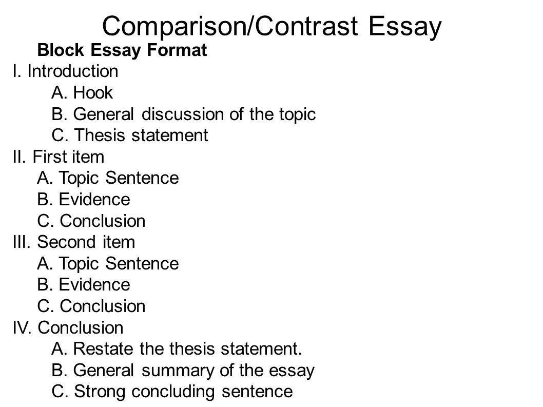 016 Essay Example Compare And Rare Contrast Block Method Sample High School Comparison Examples Middle Full