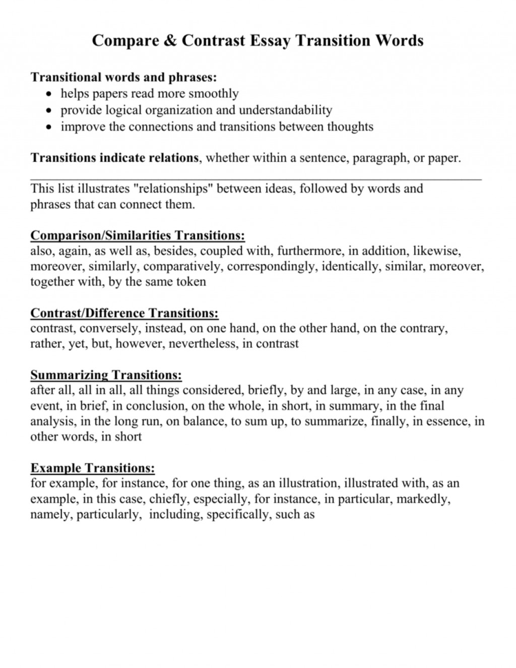 016 Essay Example Contrast Transition Words For Essays Compares 006840377 1 To Start Fantastic Comparison Topics Middle School Compare Title Ideas Thesis Large