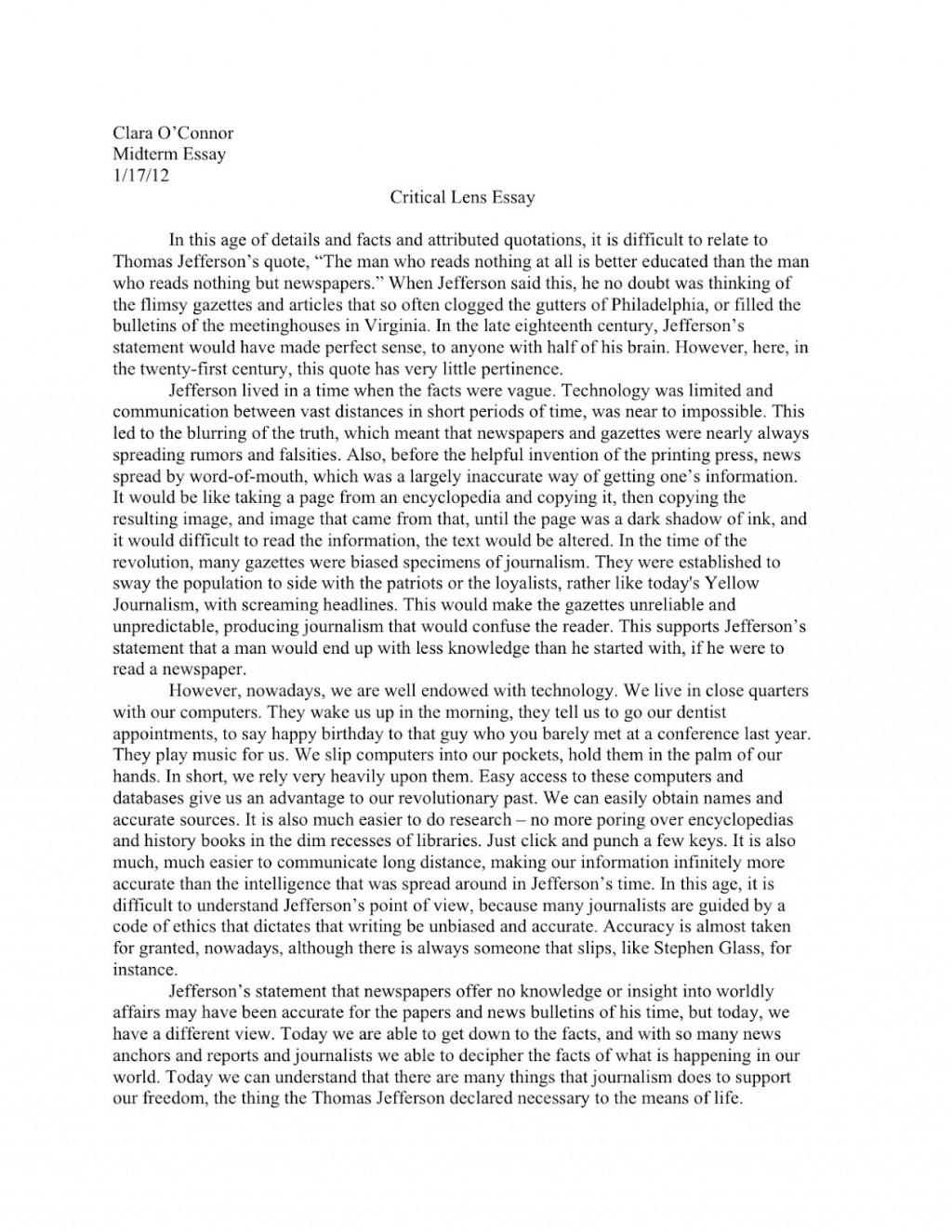 016 Essay Example Critical Response Fantastic Pdf Good Large