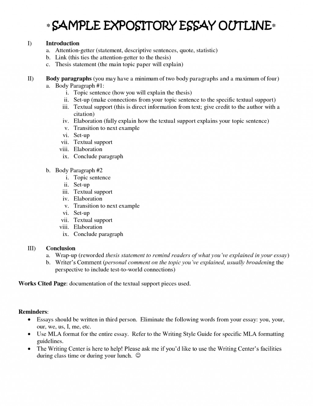 016 Essay Example Descriptive Outline Sample 473907 Impressive And Template For Compare Contrast Cause Effect Printable Large