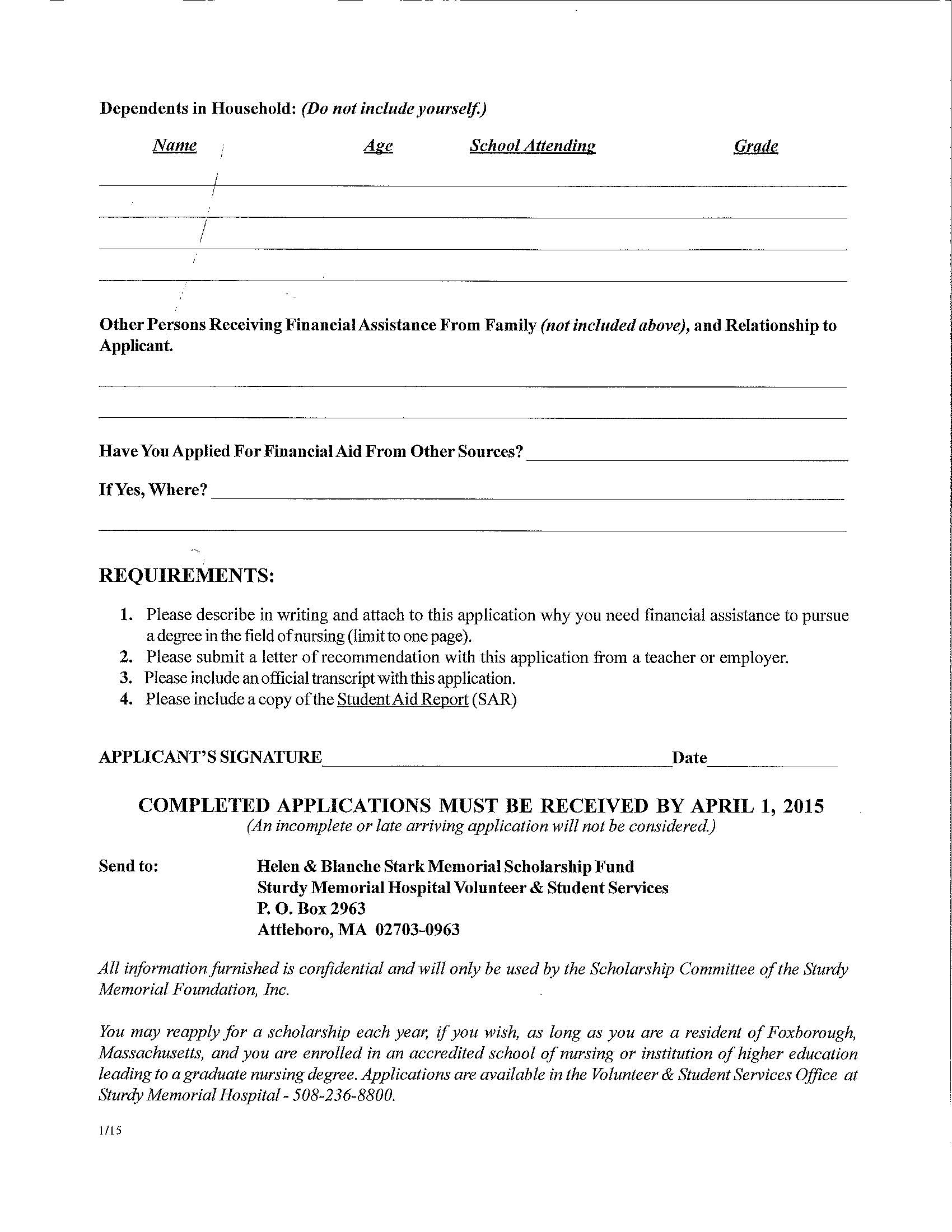 016 Essay Example Descriptive Thesis Helen Blanche Stark Memorial Scholarship Fund Application Page 2 Rare Statements Examples Full