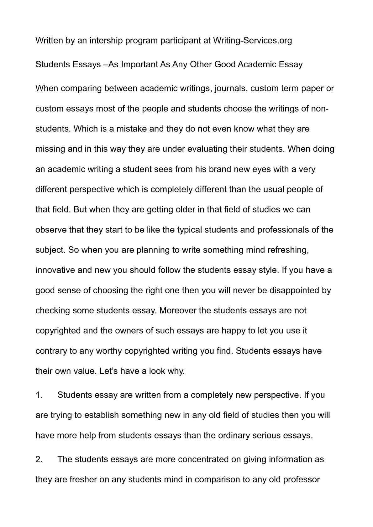 describe a successful student essay
