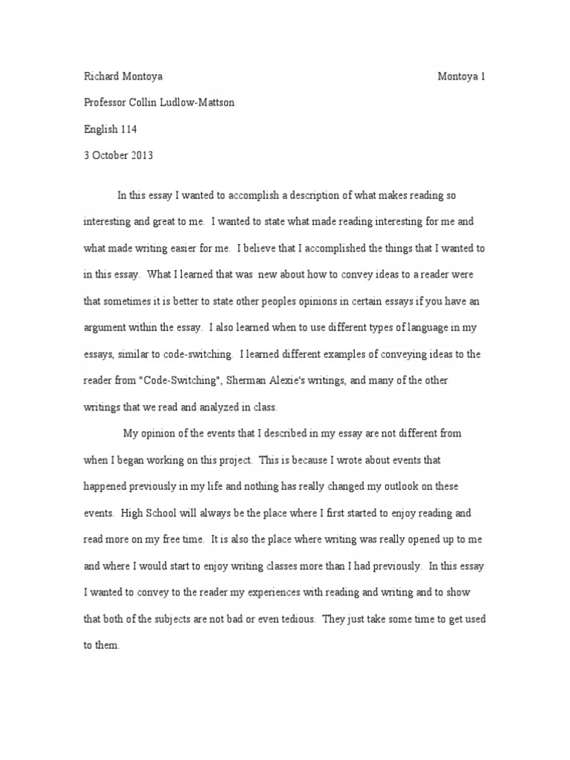 016 Essay Example Literacy Narrative Final Draft Revised Essays Homework How My Writing Has Changed Self Phenomenal Personal Examples Sample Digital 1920
