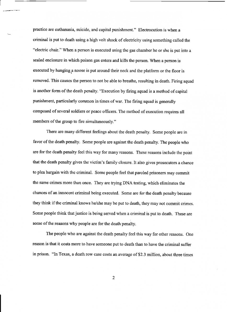 016 Essay Example Pro Choice Death Penalty Pg Unique Thesis Topics Outline