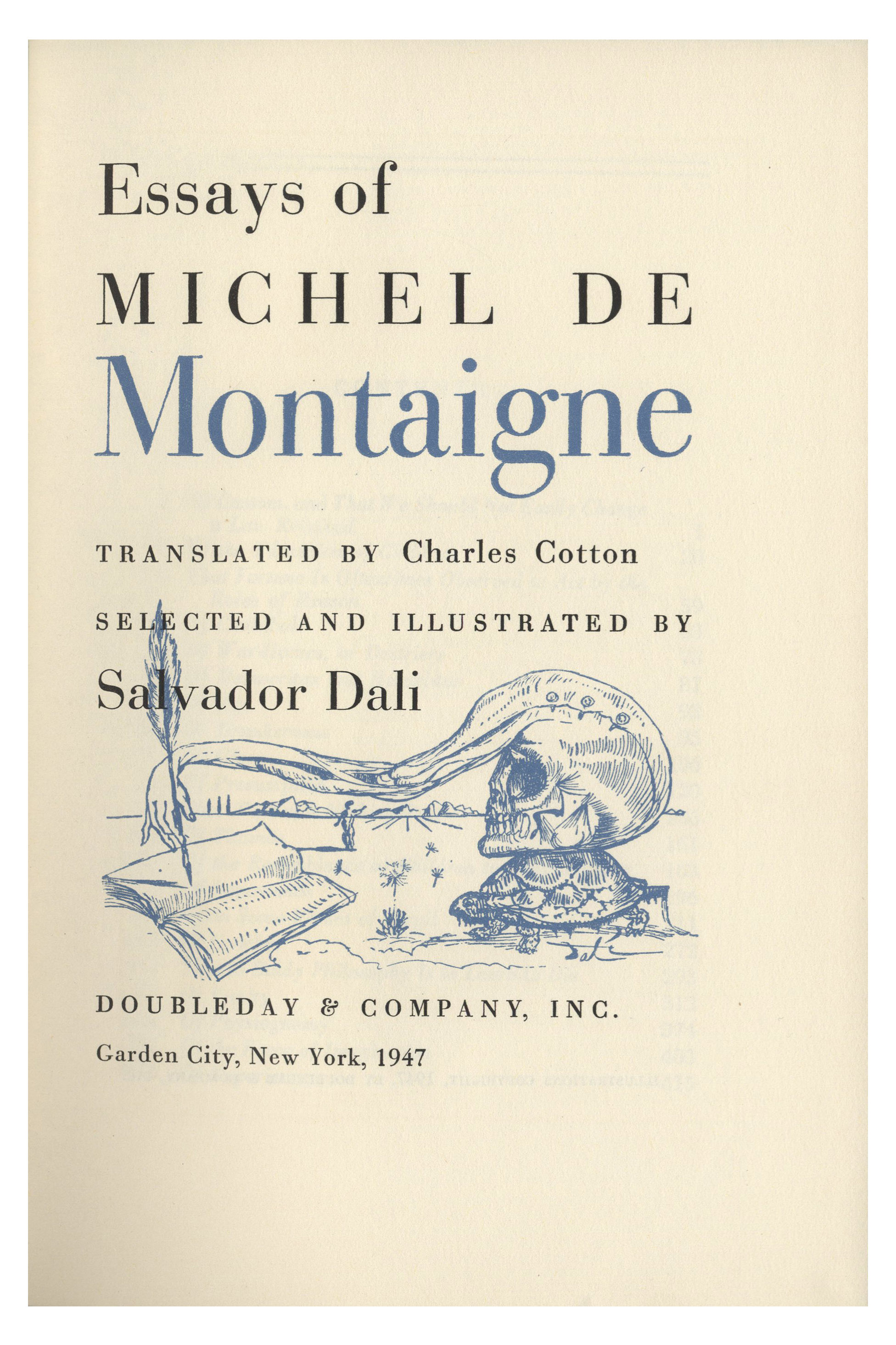 016 Essay Example Salvador Dali Signed Essays Michel Montaigne 53508d Lg Frightening De On Experience Summary Quotes Full