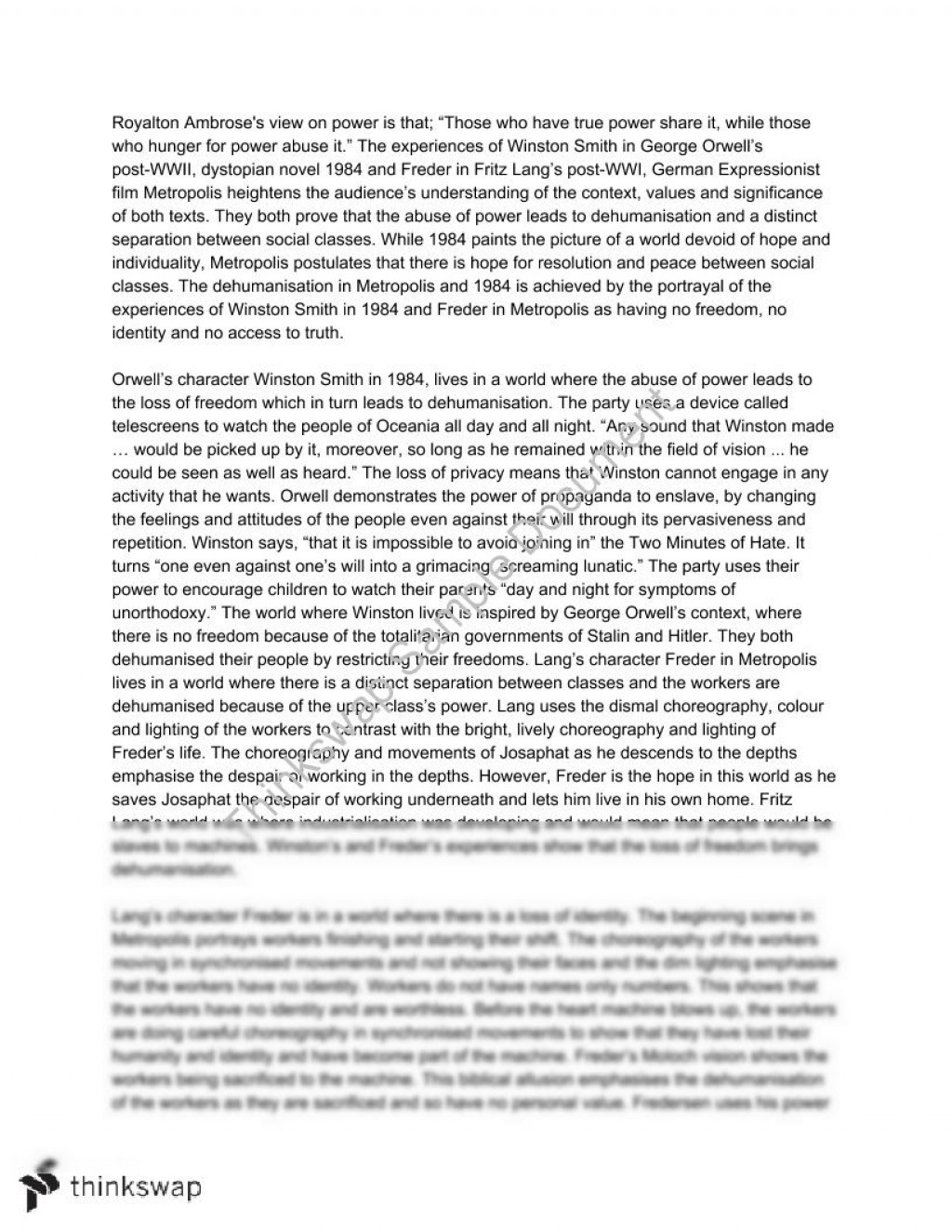 016 Essay Example Topics 97894 Metropolis And 1984 Video Essaypodcast Fadded Incredible Stasiland George Orwell Research Paper Book Questions Large