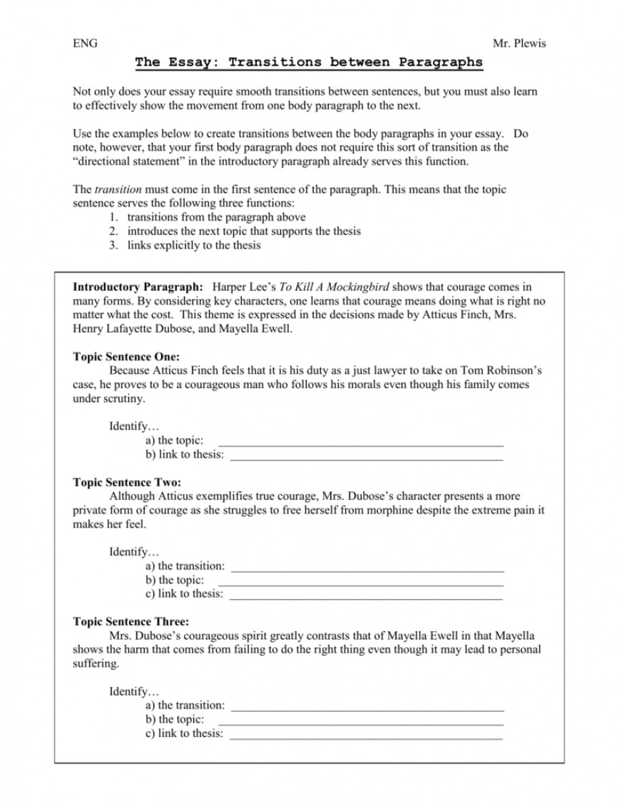 016 Essay Example Transitions 008066186 1 Archaicawful Transition Sentence Examples Words And Phrases List 868