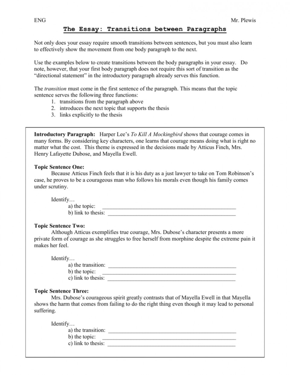 016 Essay Example Transitions 008066186 1 Archaicawful Transition Sentence Examples Words And Phrases List 960