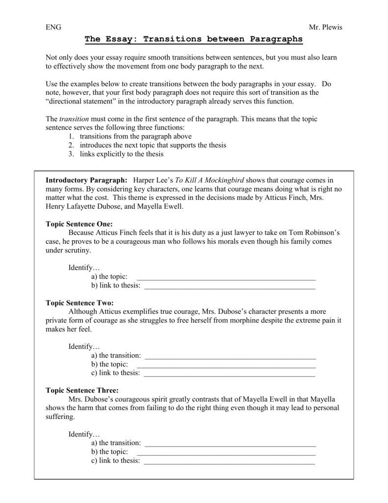 016 Essay Example Transitions 008066186 1 Archaicawful Transition Sentence Examples Words And Phrases List
