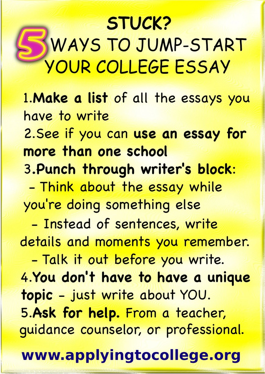 016 Essay Example Writing College Application Rare A Tips For Great How To Write That Stands Out Of 868