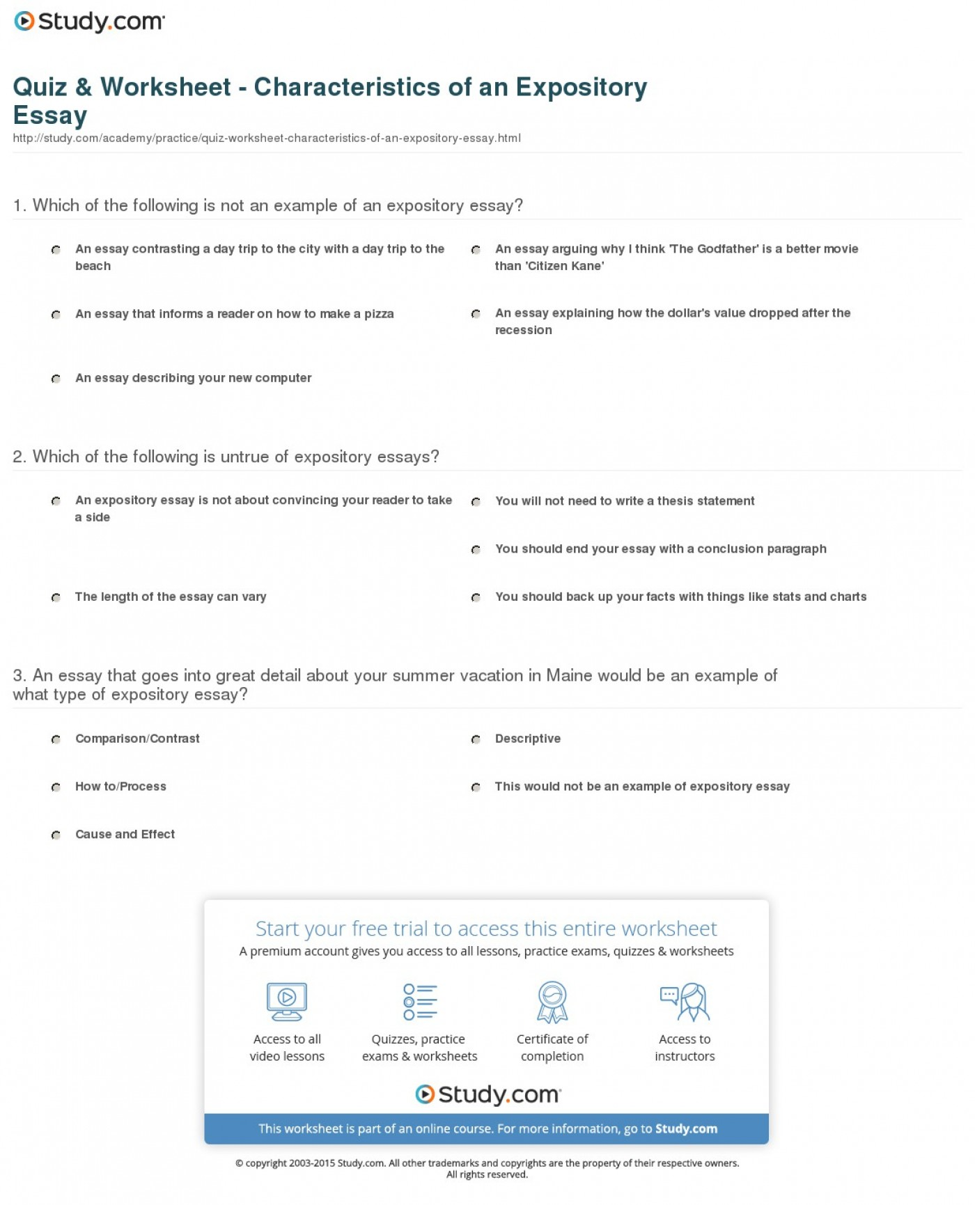 016 Expository Essay Format Quiz Worksheet Characteristics Of An Fascinating Mla Example Introduction Examples Sample Apa 1400