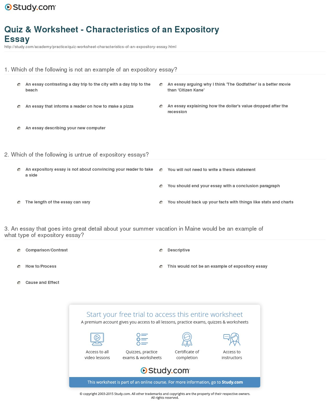 016 Expository Essay Format Quiz Worksheet Characteristics Of An Fascinating Examples For College Pdf Outline Full