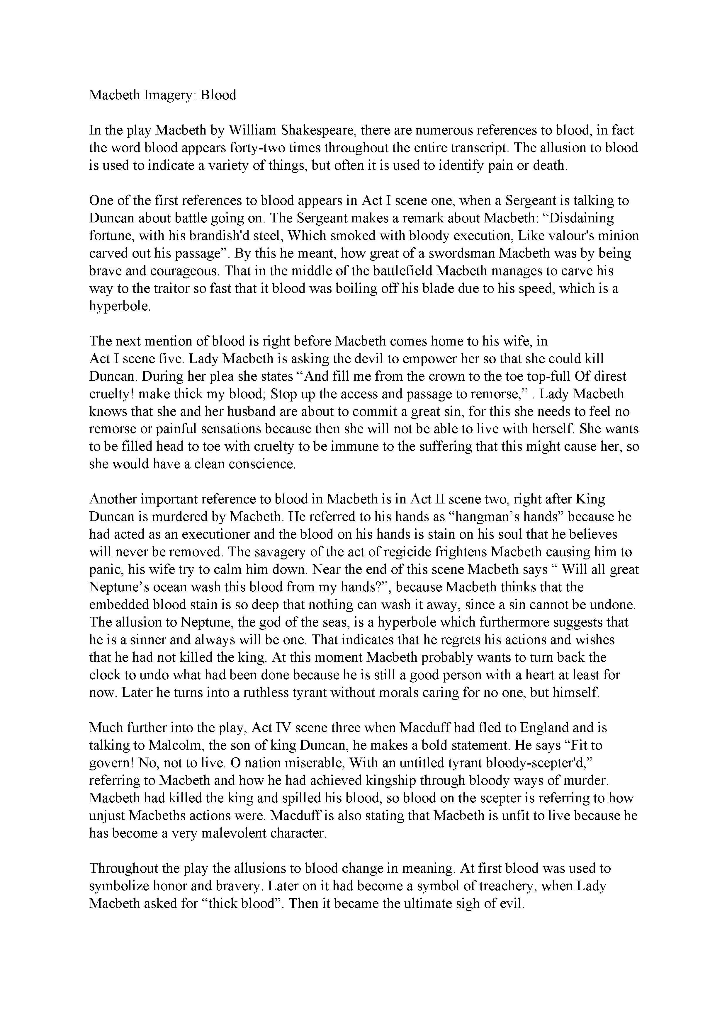 016 Free Essays Essay Example Macbeth Singular 123 Easy Full