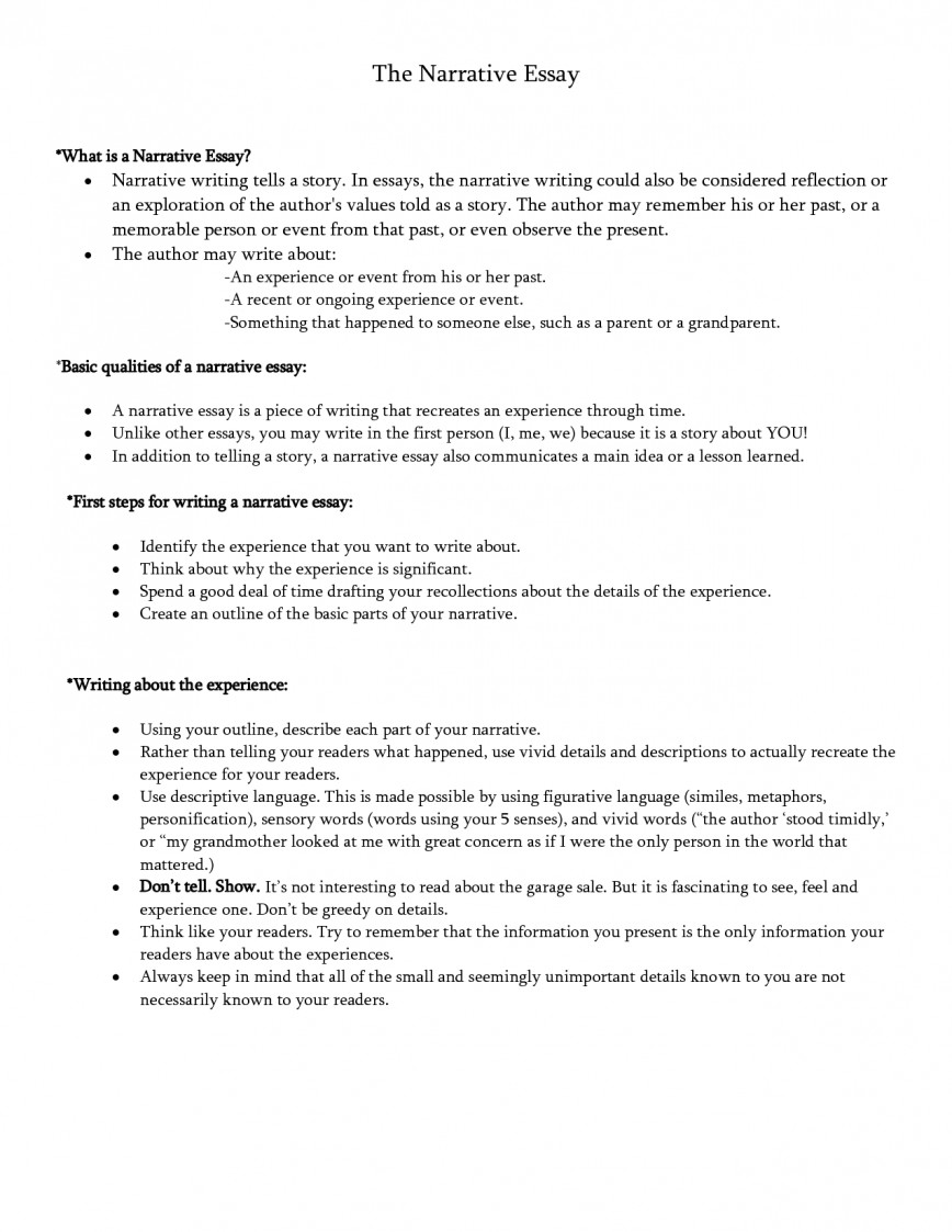 How to write a narrative essay about an experience
