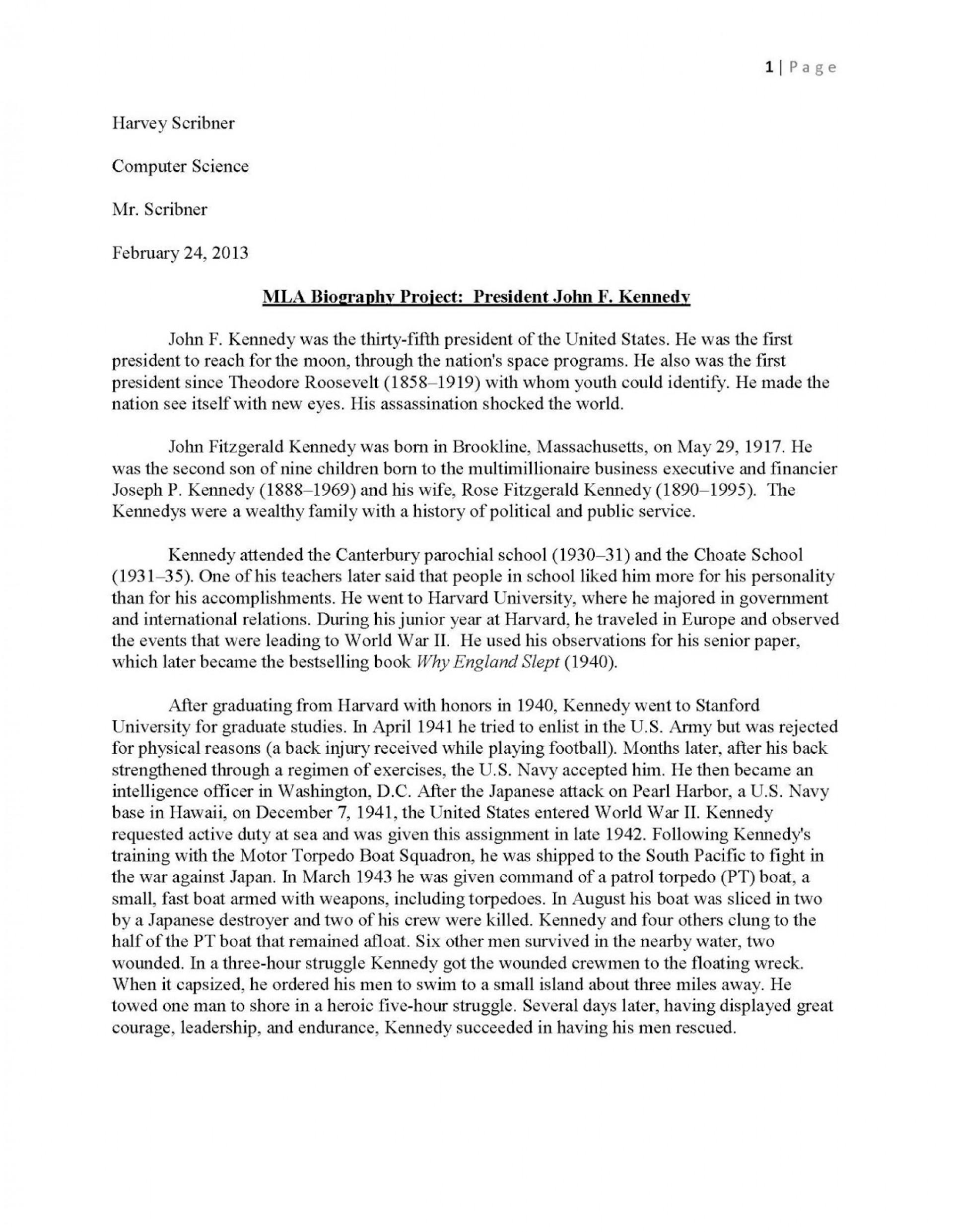016 Jfkmlashortformbiographyreportexample Page 1 Sample Biography Essay Unforgettable About Myself Elementary Self 1920