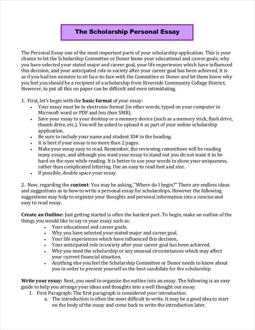 016 Personal Essays For Scholarships Why I Need Scholarship Pdf Format Formidable Essay Narrative Samples Graduate School Full